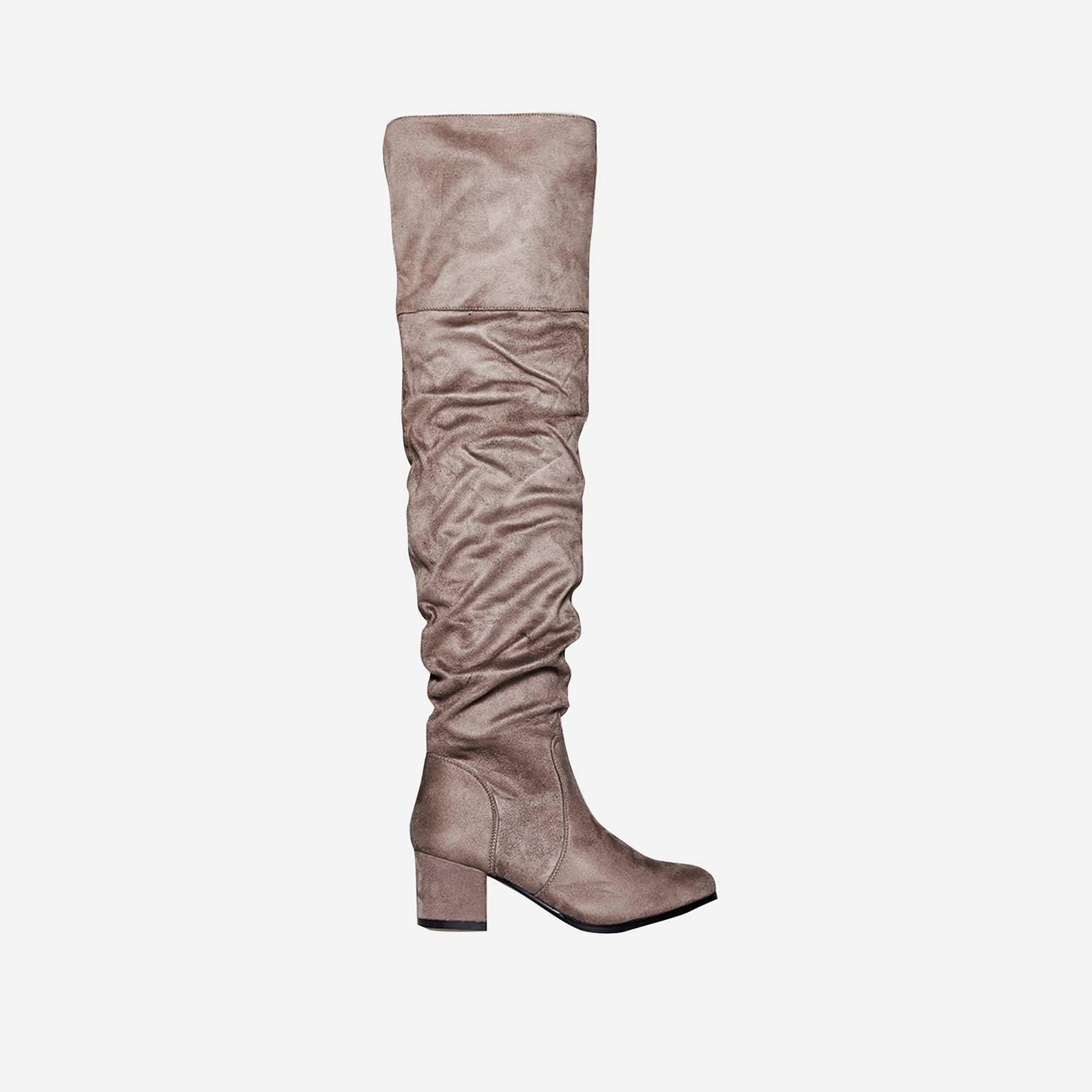 Lomax Over The Knee Long Boot In Taupe Faux Suede
