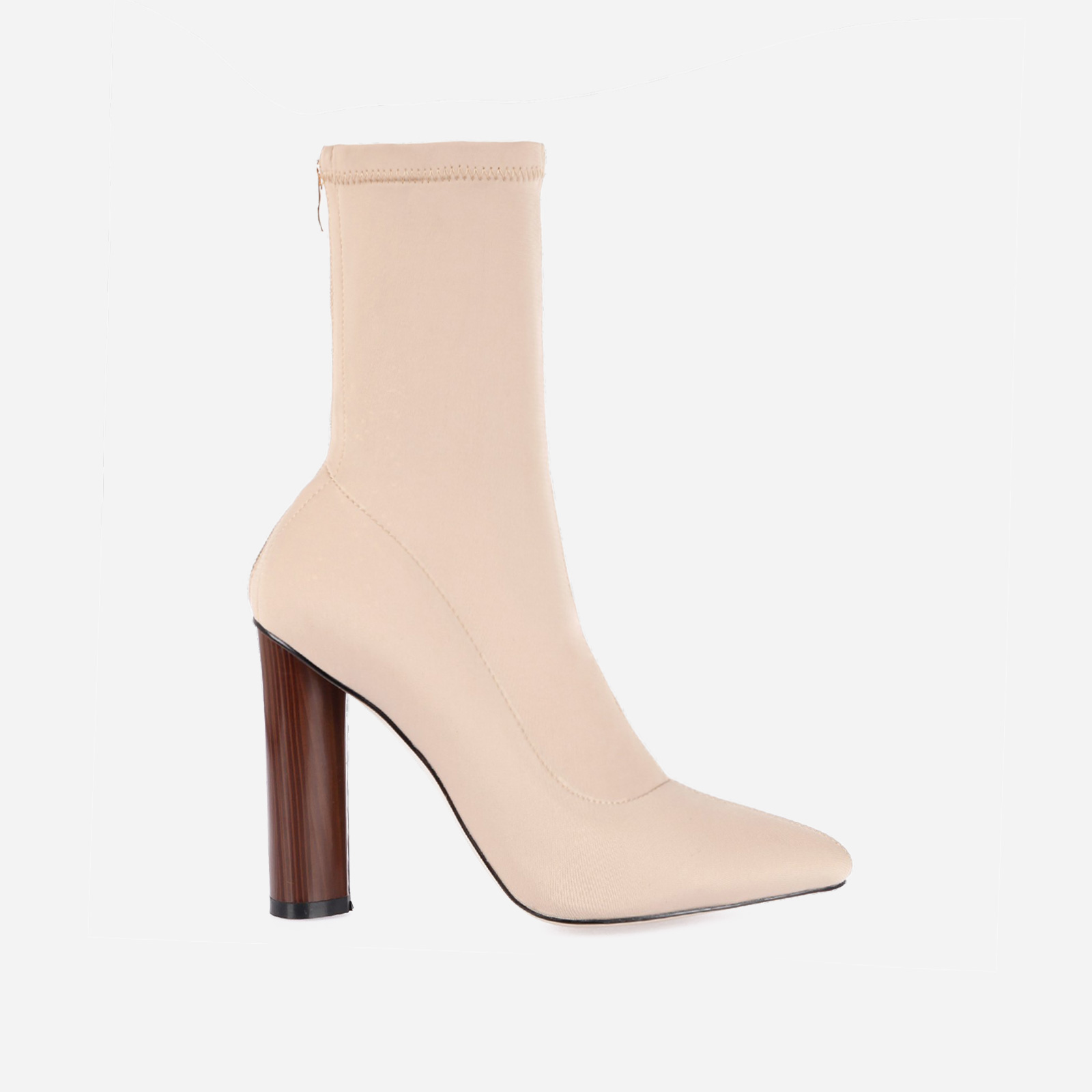 Zina Nude High Ankle Boot In Lycra Image 1