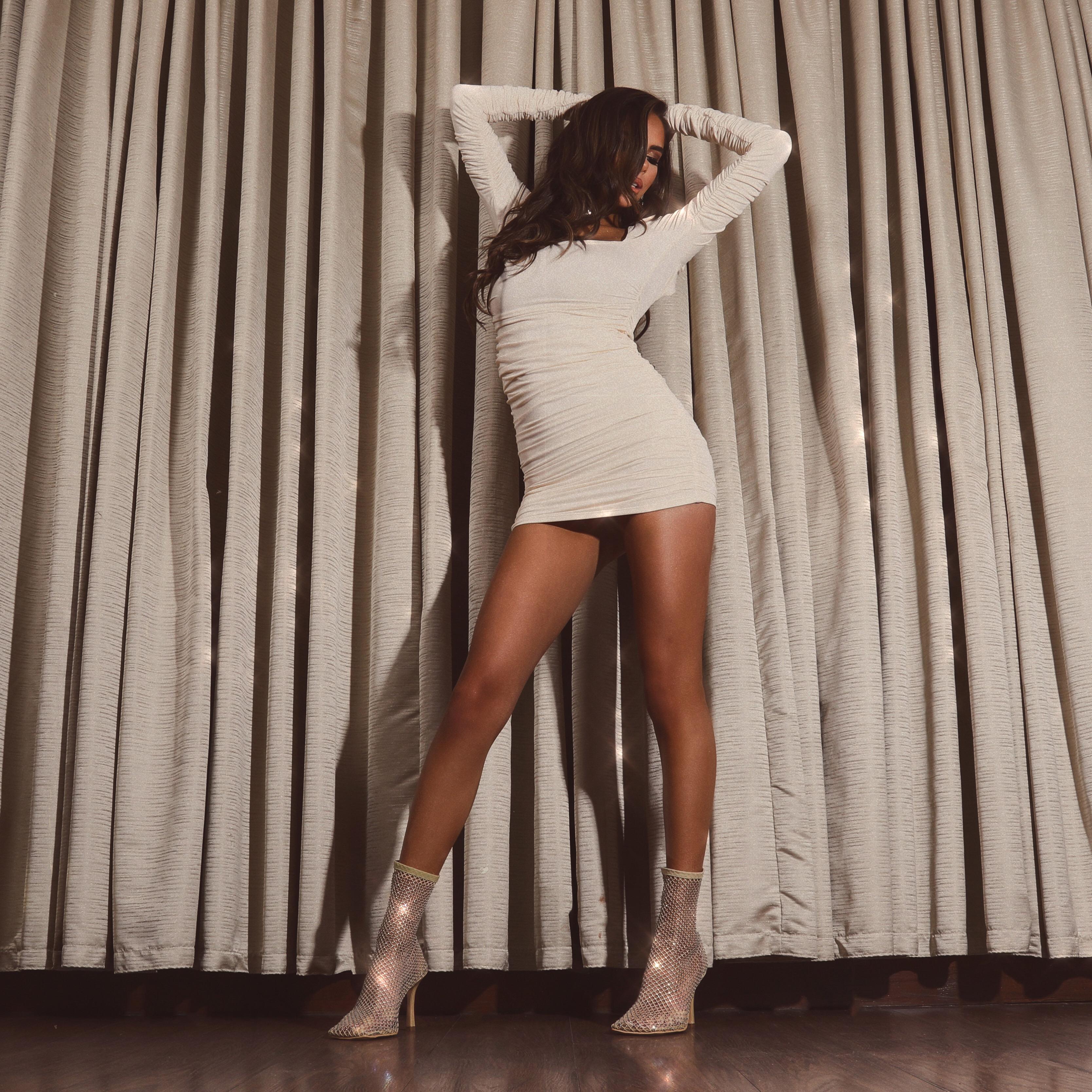 Minnie Square Toe Diamante Detail Fishnet Heel In Nude