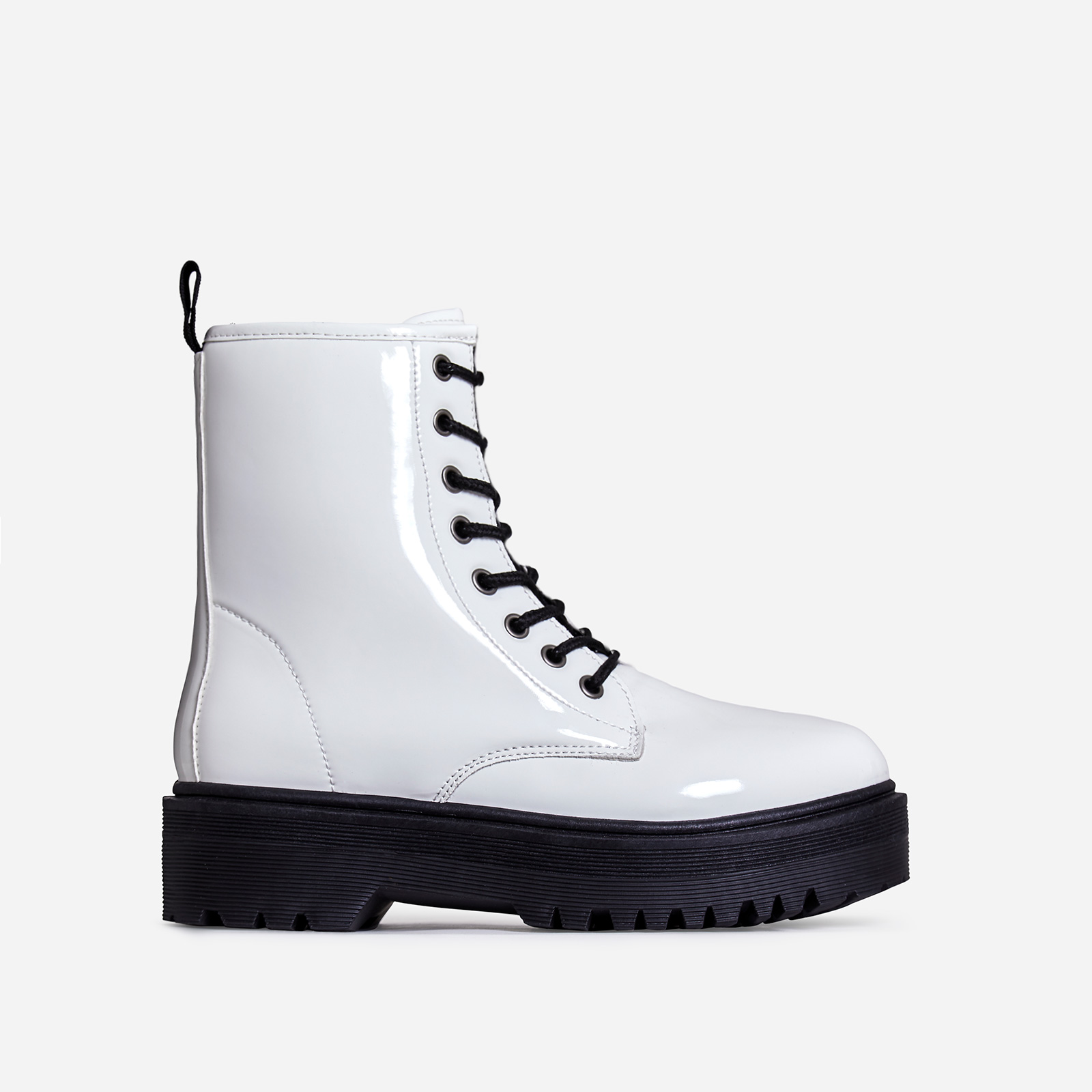 Poppin Lace Up Ankle Biker Boot In White Patent