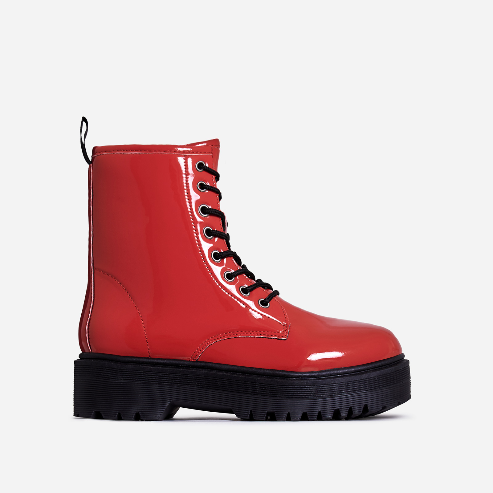 Poppin Lace Up Ankle Biker Boot In Red Patent