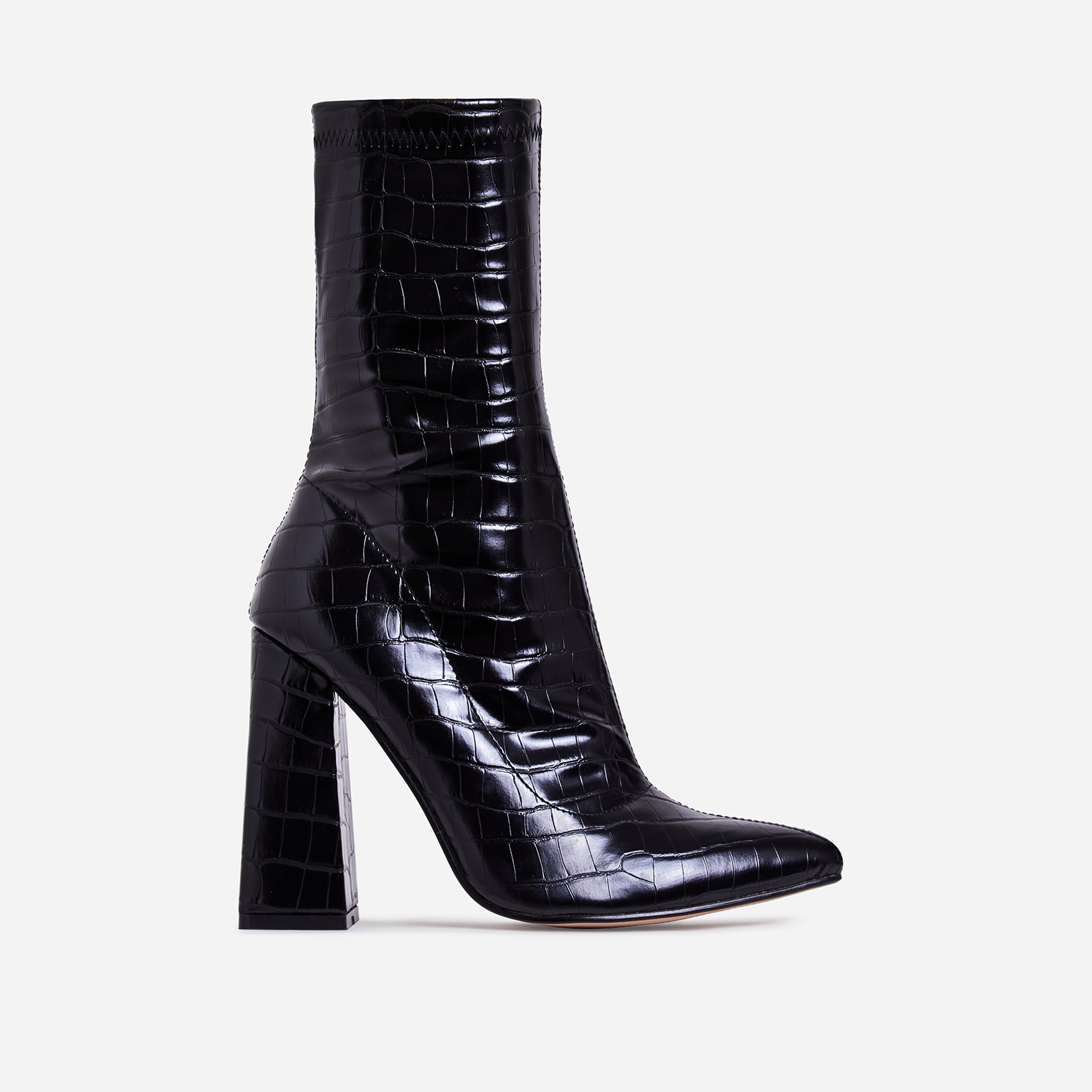 Chesta Block Heel Ankle Boot In Black Croc Print Faux Leather