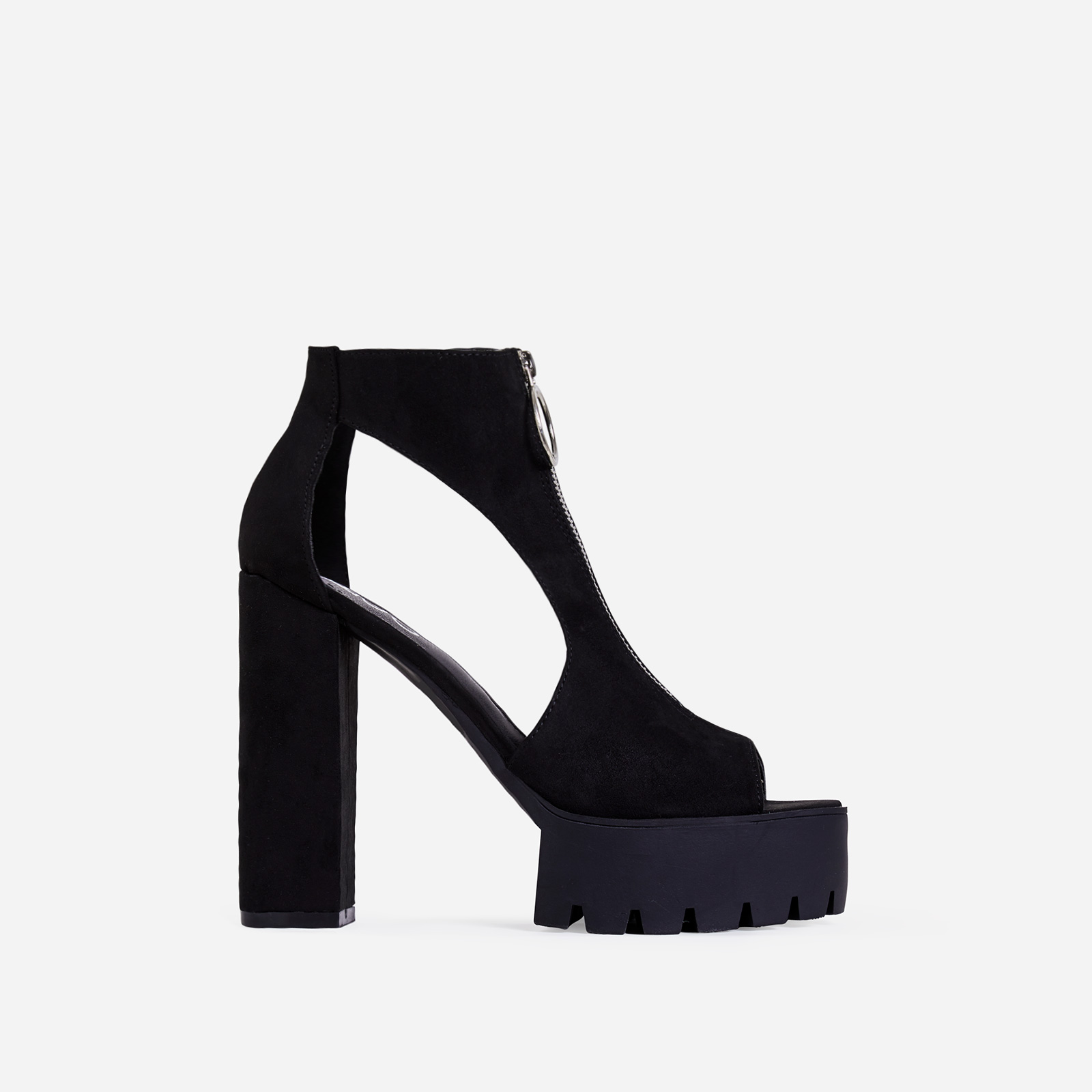 Bella Platform Cut Out Peep Toe Ankle Boot In Black Faux Suede