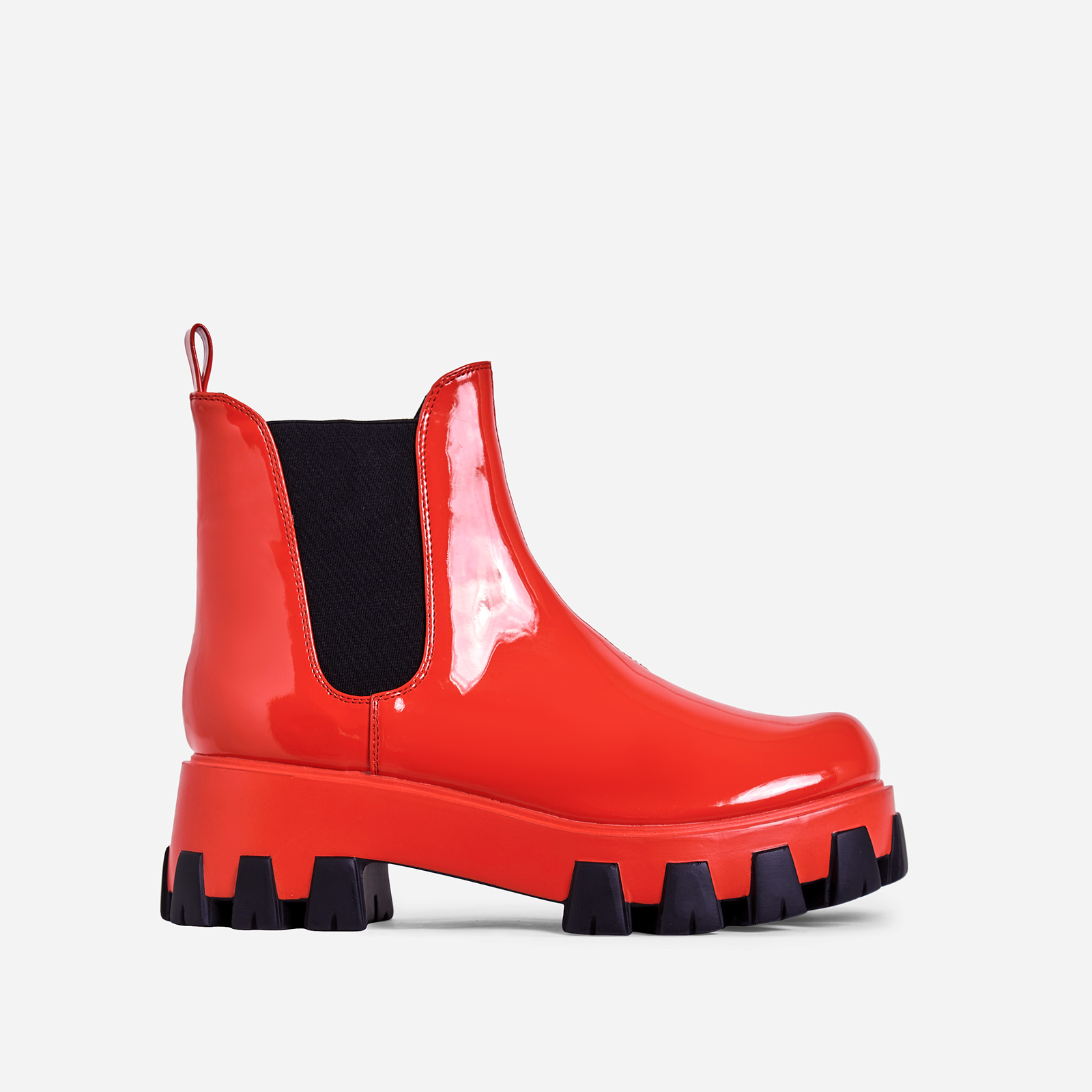 Easton Chunky Sole Ankle Chelsea Boot In Red Patent