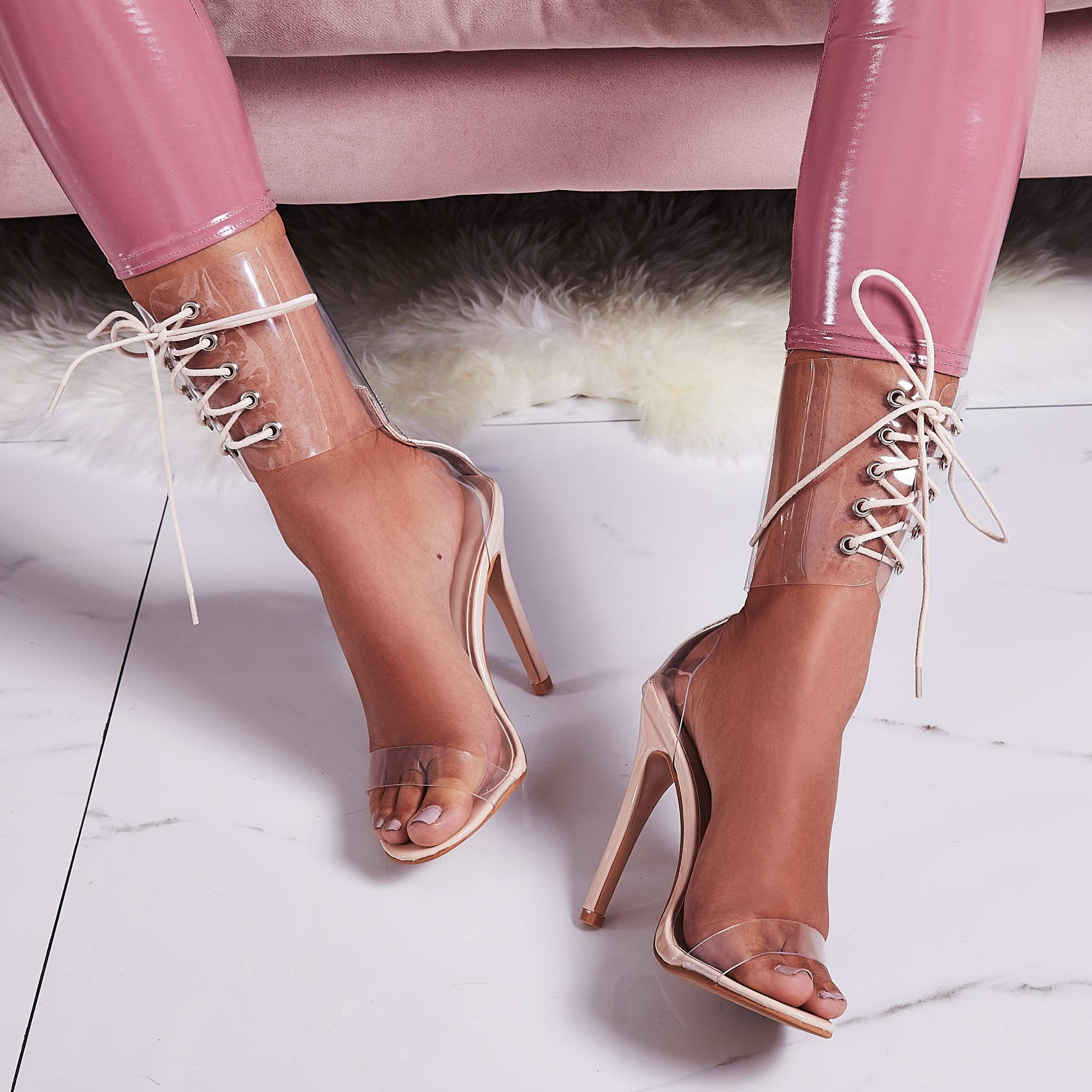 Passion Lace Up Perspex Heel In Nude Patent
