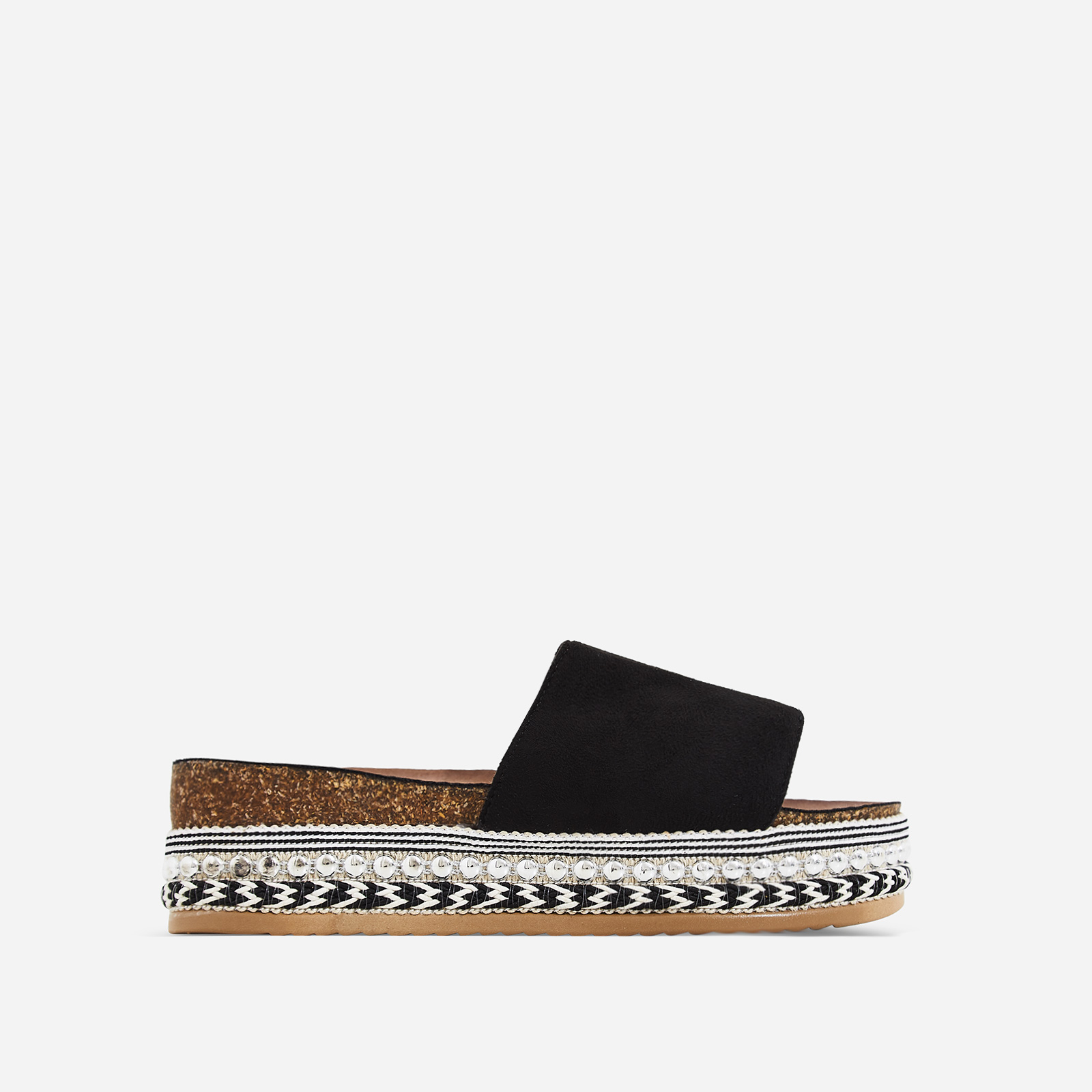 Tarvos Studded Detail Espadrille Sandal In Black Faux Suede
