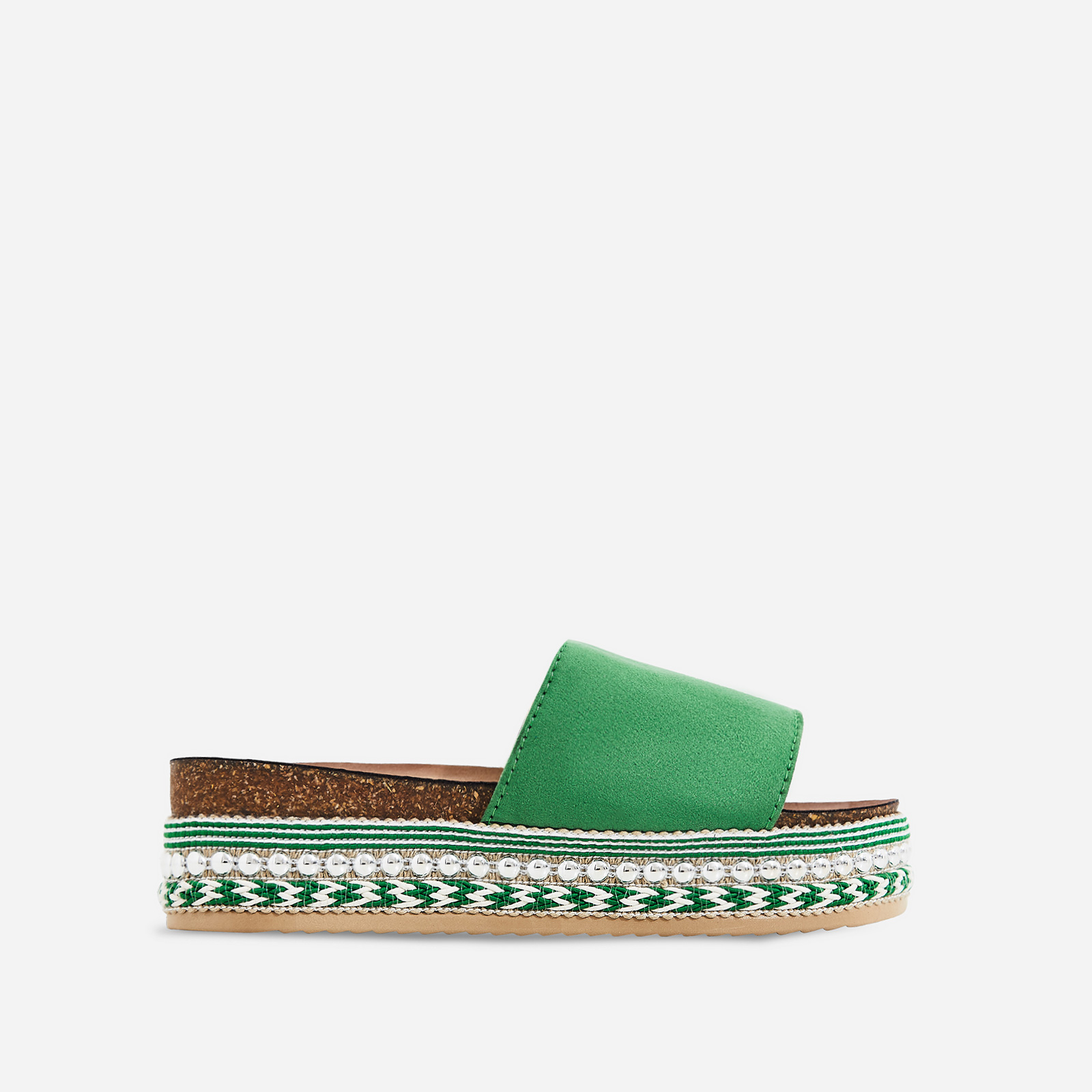 Tarvos Studded Detail Espadrille Sandal In Green Faux Suede