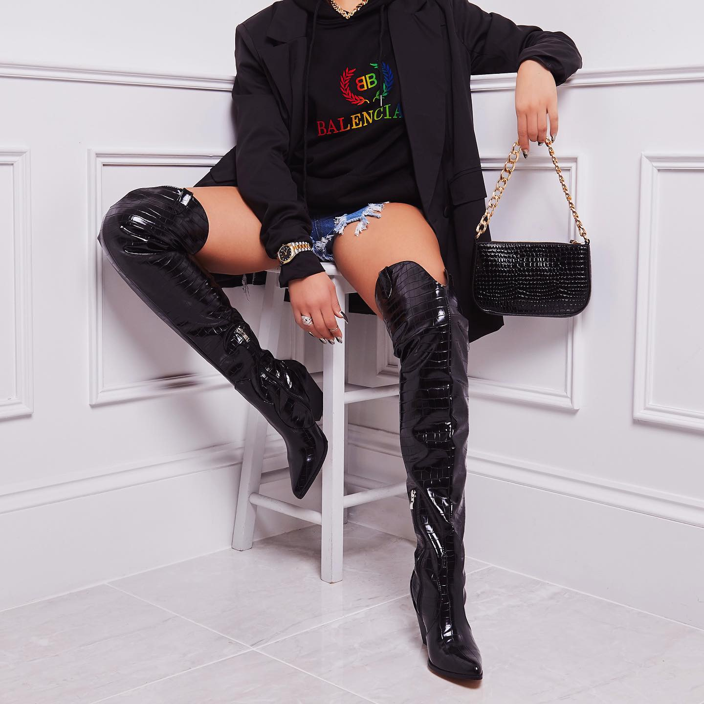 Madonna Thigh High Western Long Boot In Black Croc Print Faux Leather