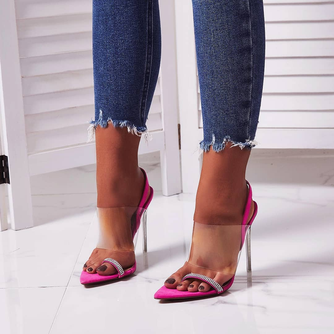Rina Dimante Pointed Perspex Heel In Fuchsia Pink Faux Suede