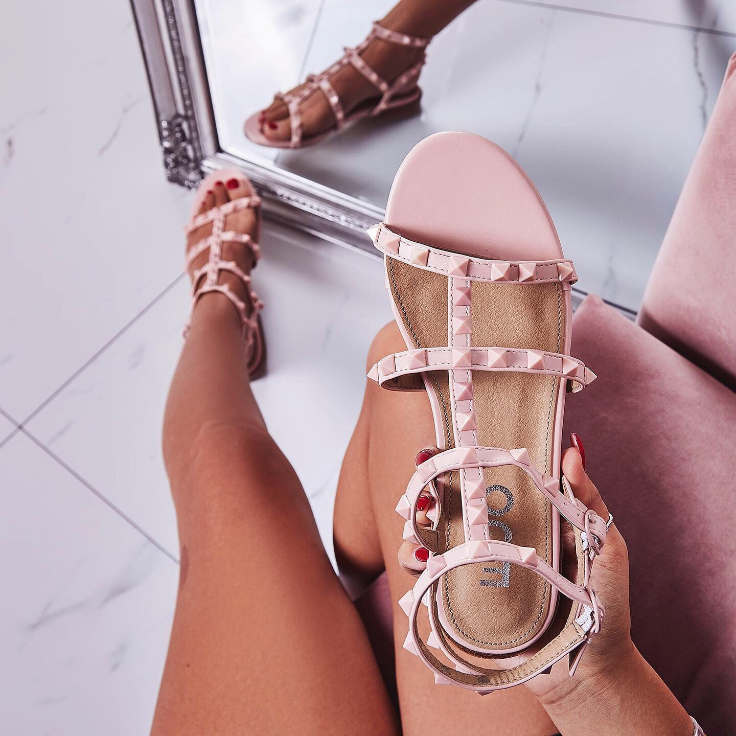 Paisley Studded Detail Gladiator Sandal In Pink Faux Leather