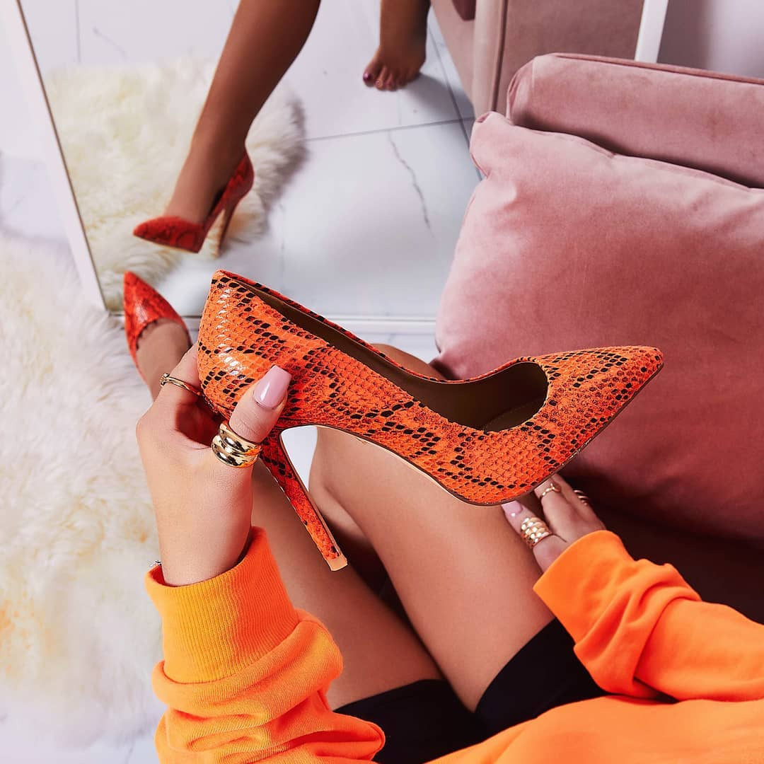 Bronte Court Heel In Neon Orange Snake Print Faux Leather