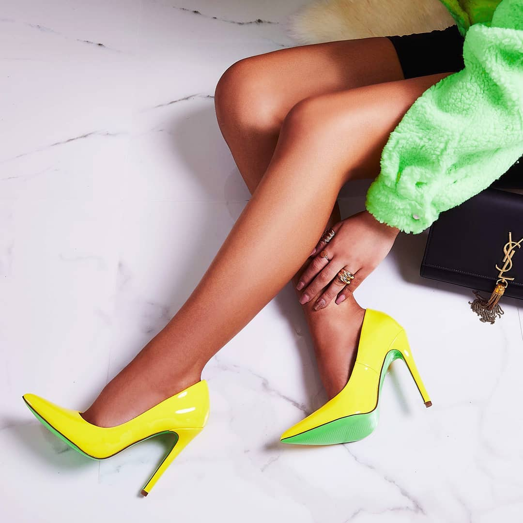 Bronte Court Heel In Neon Yellow Patent