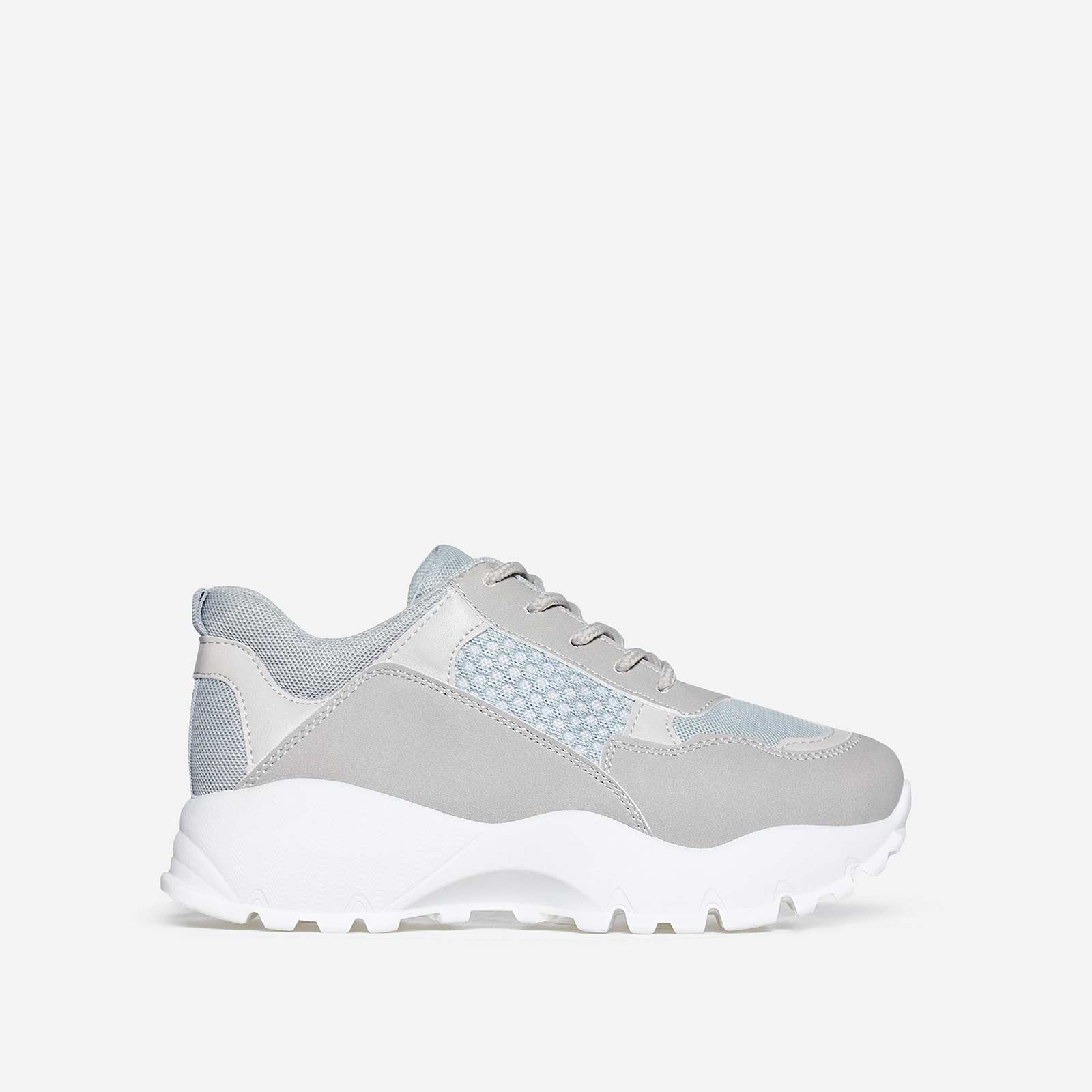Elias Chunky Trainer In Grey Faux Leather