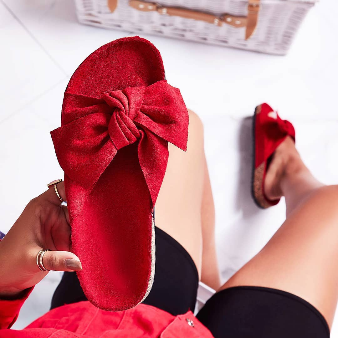 Paula Bow Detail Slider In Red Faux Suede