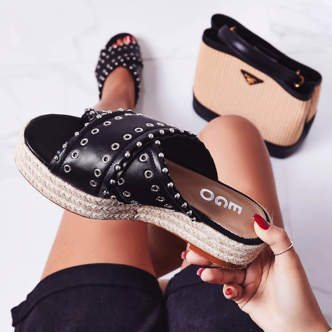 Salina Studded Crossover Strap Espadrille Sandal In Black Faux Leather