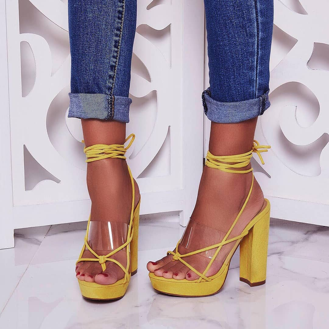 Jamie Lace Up Perspex Platform Heel In Yellow Faux Suede