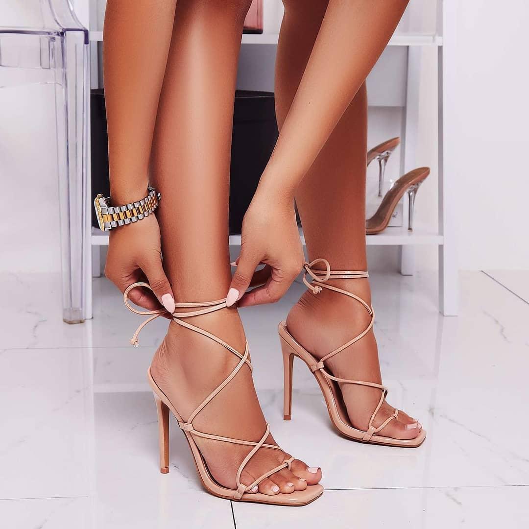 Paris Square Toe Lace Up Heel In Nude Patent