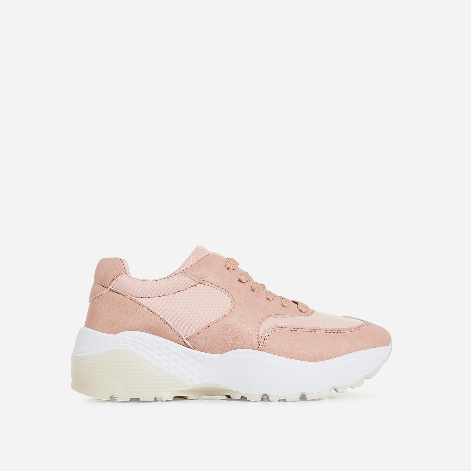 Nia Chunky Sole Trainer In Pink Faux Leather