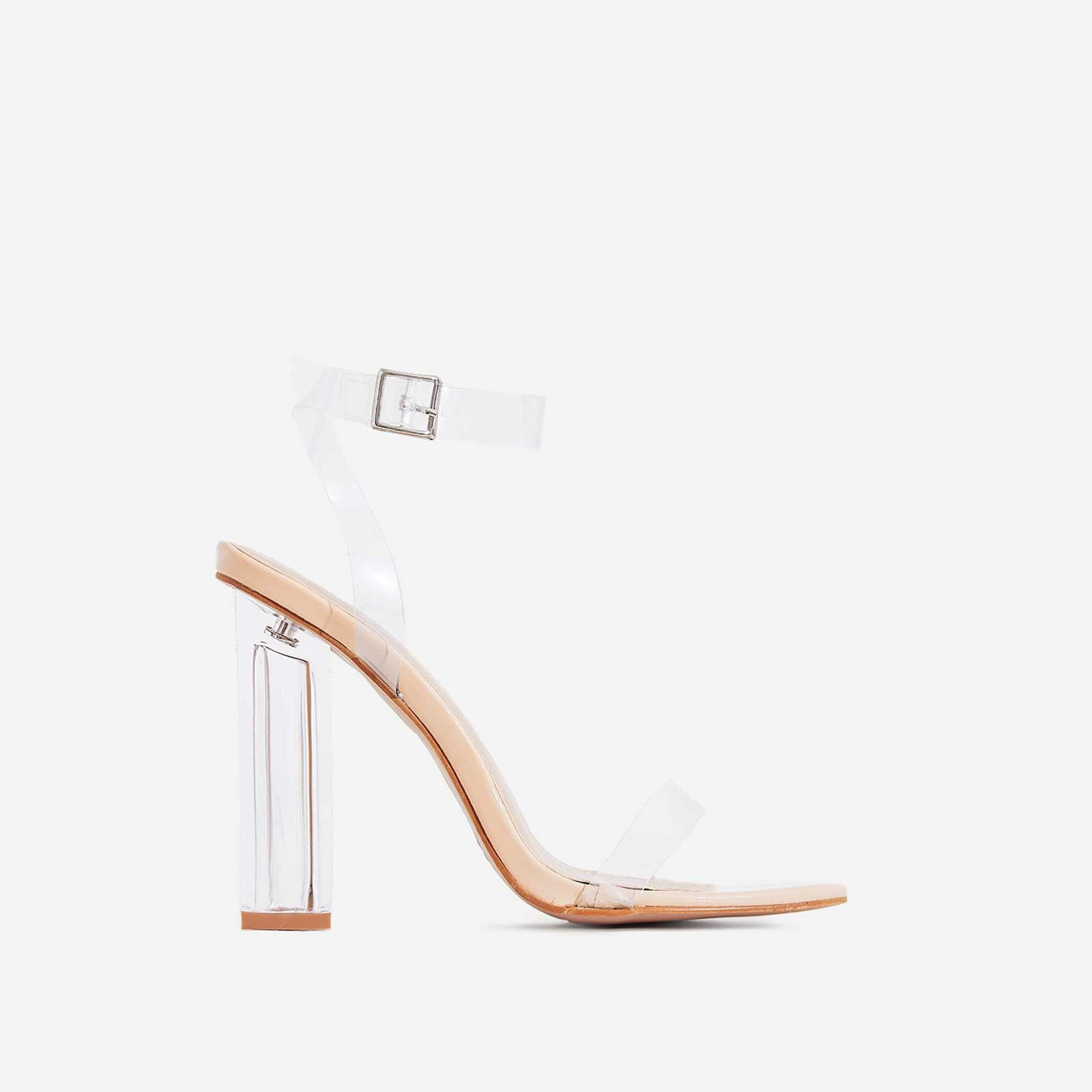 Mercie Barely There Perspex Block Clear Heel In Nude Patent