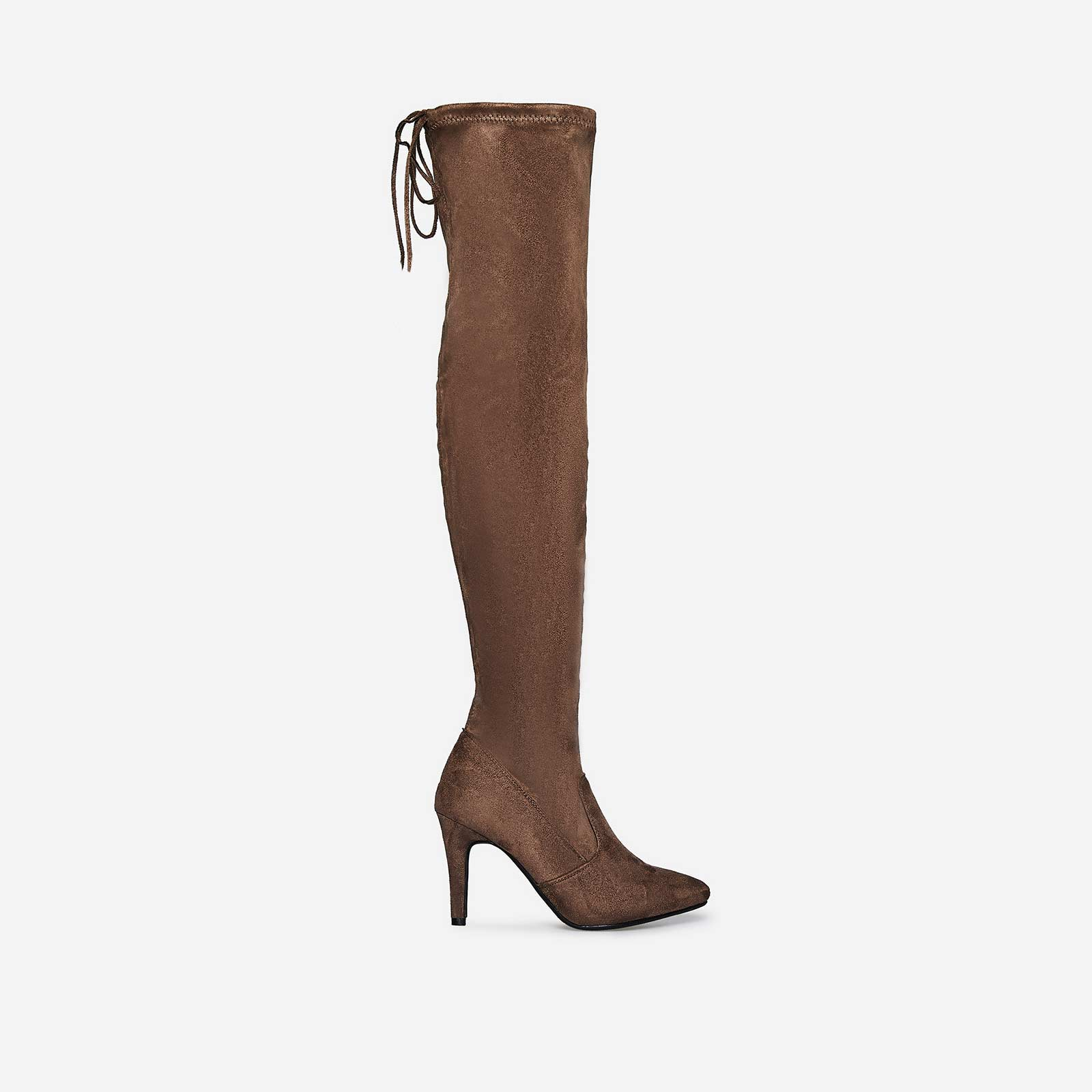 Sia Over The Knee Long Boot In Taupe Faux Suede