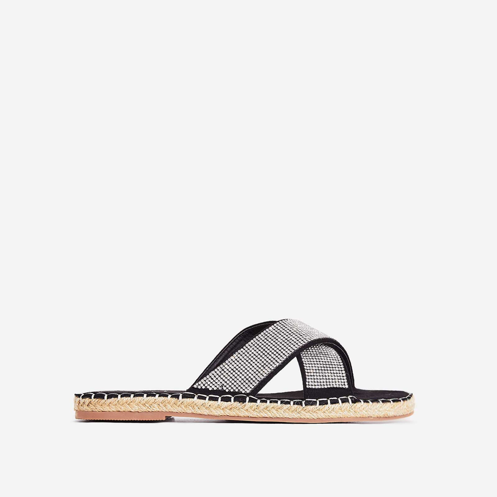 Queen Diamante Detail Espadrille Flat Sandal In Black Faux Suede