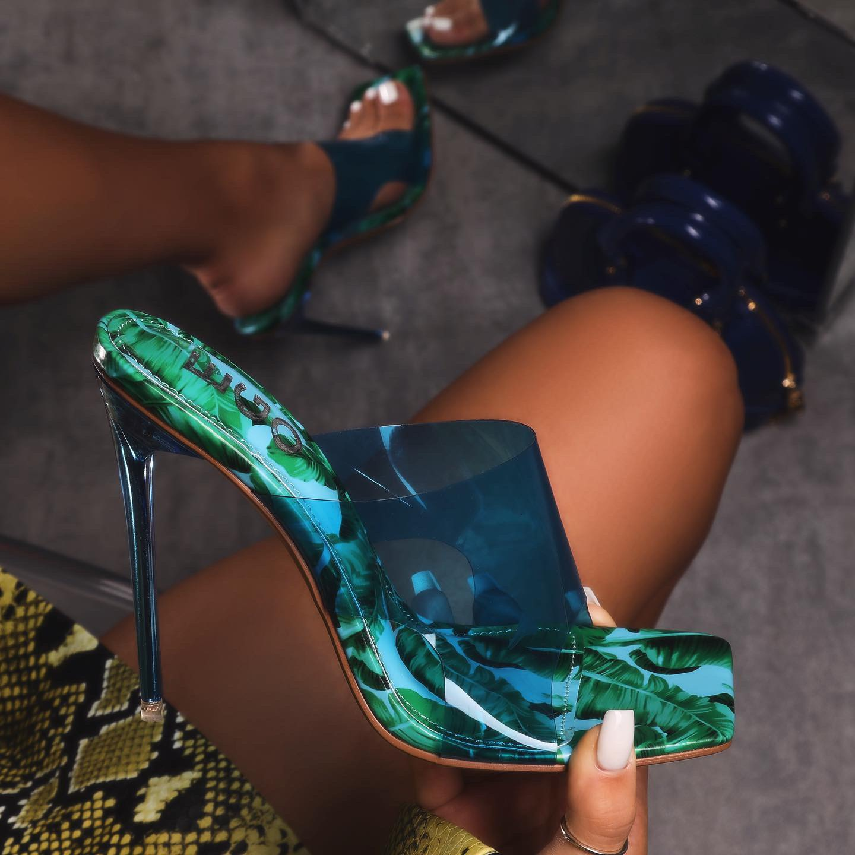 River Blue Perspex Square Peep Toe Heel Mule In Floral Print Patent