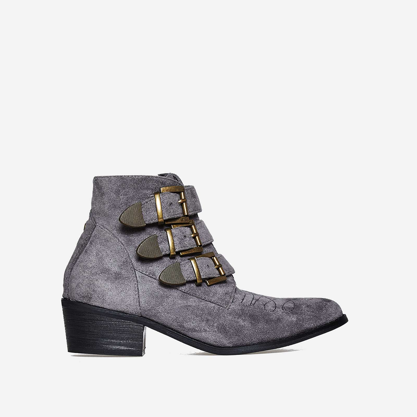 Winona Buckle Detail Ankle Boot In Grey Faux Suede