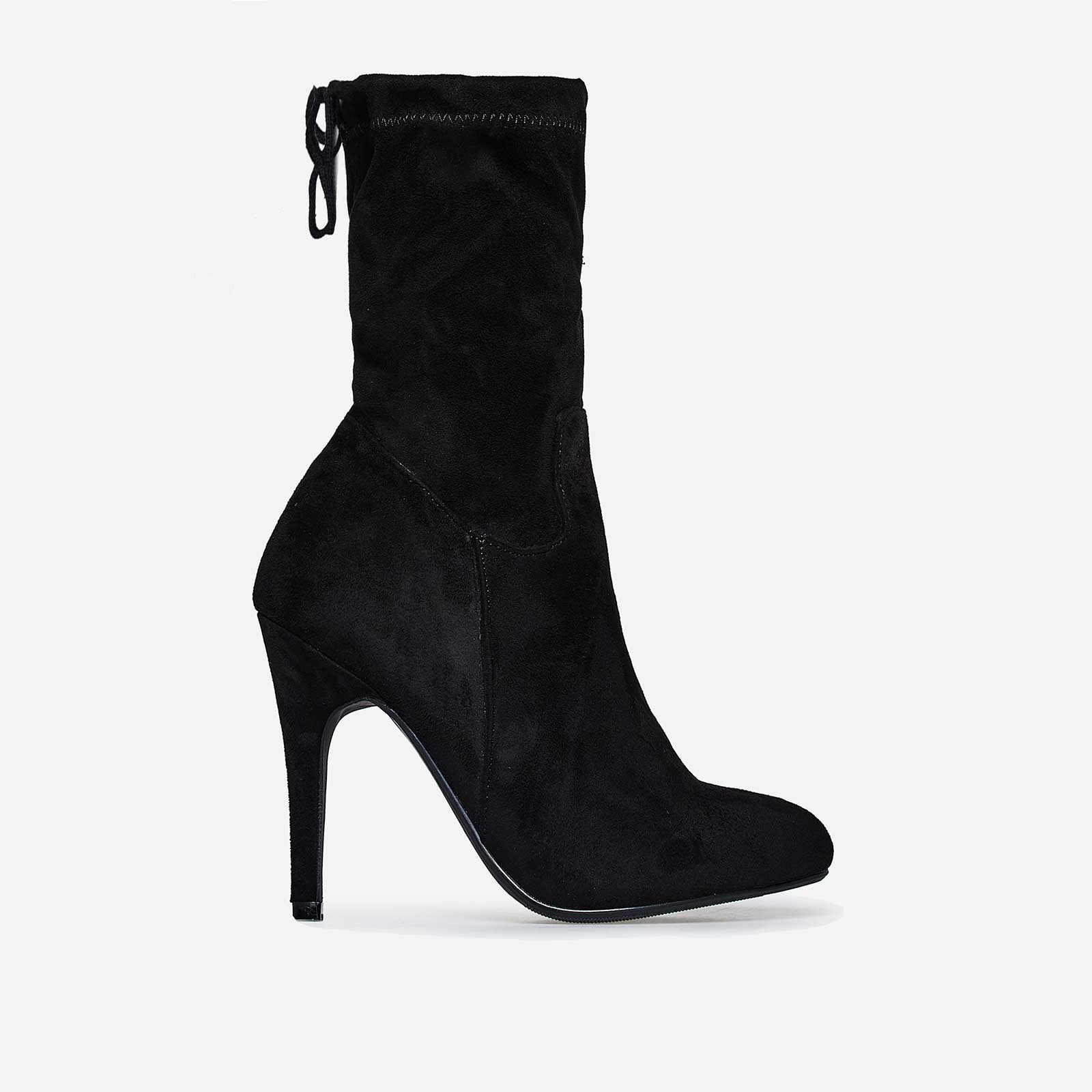 Uri Lace Up Ankle Boot In Black Faux Suede