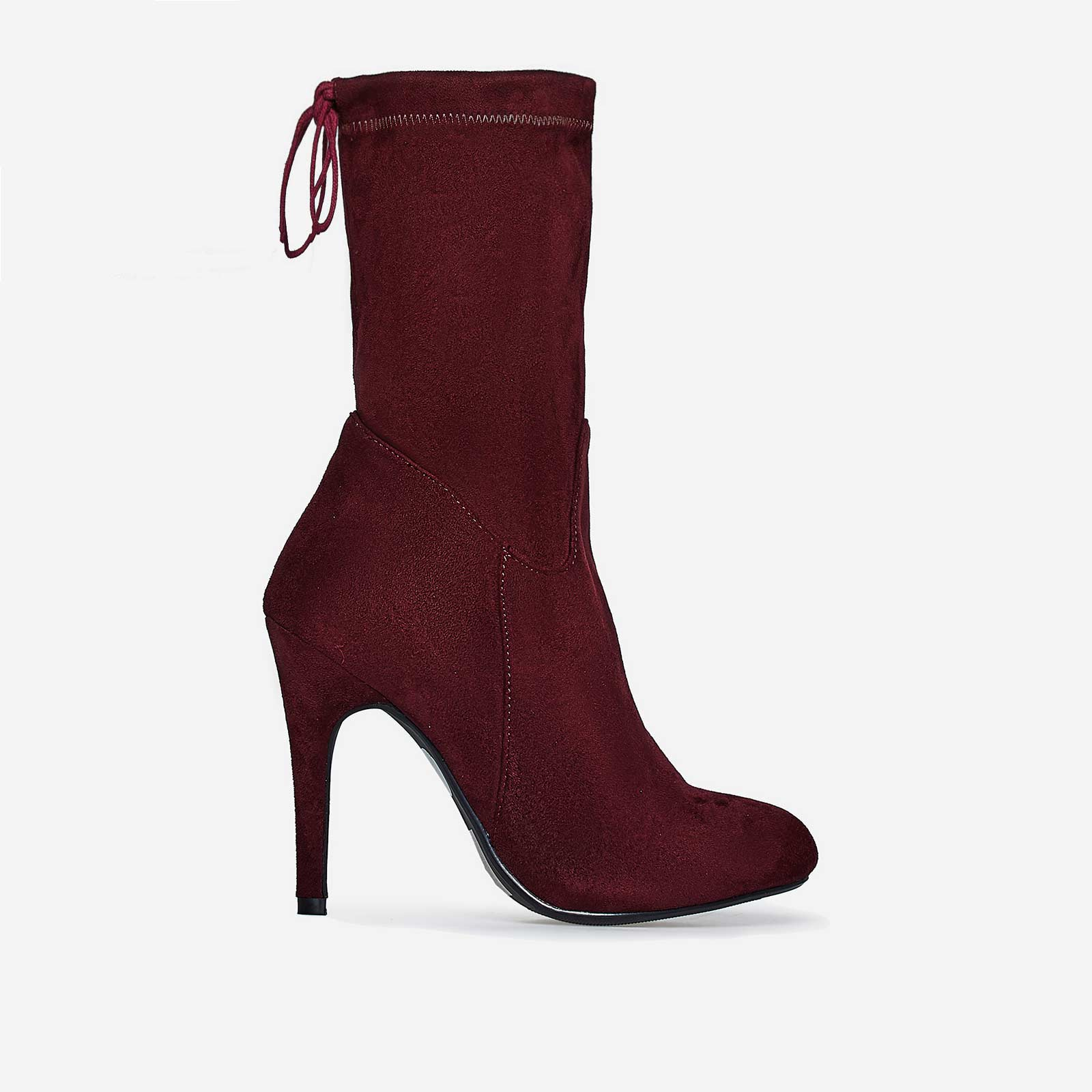 Uri Lace Up Ankle Boot In Red Faux Suede
