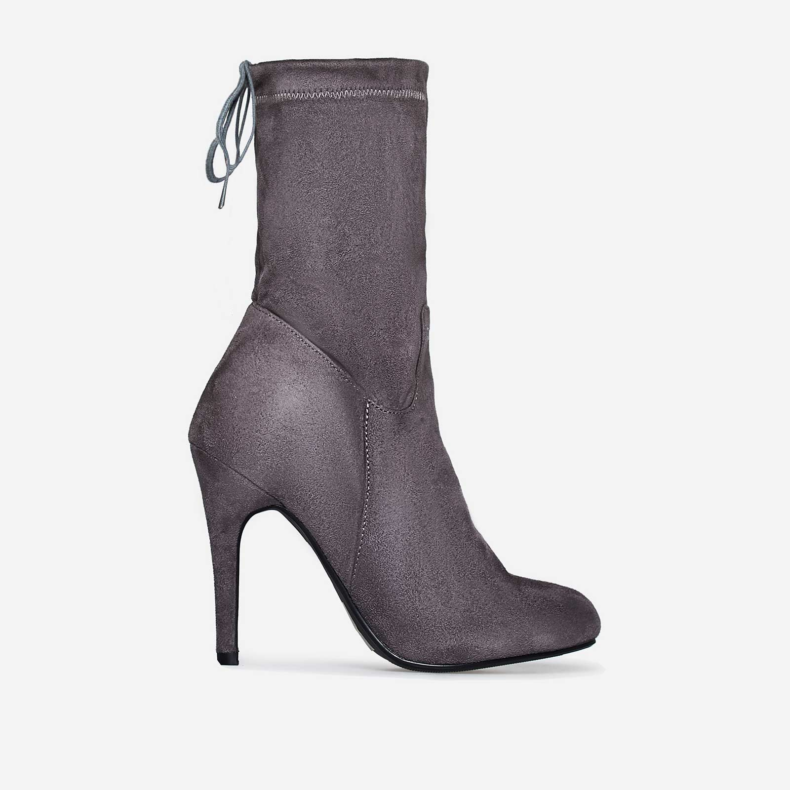 Uri Lace Up Ankle Boot In Grey Faux Suede