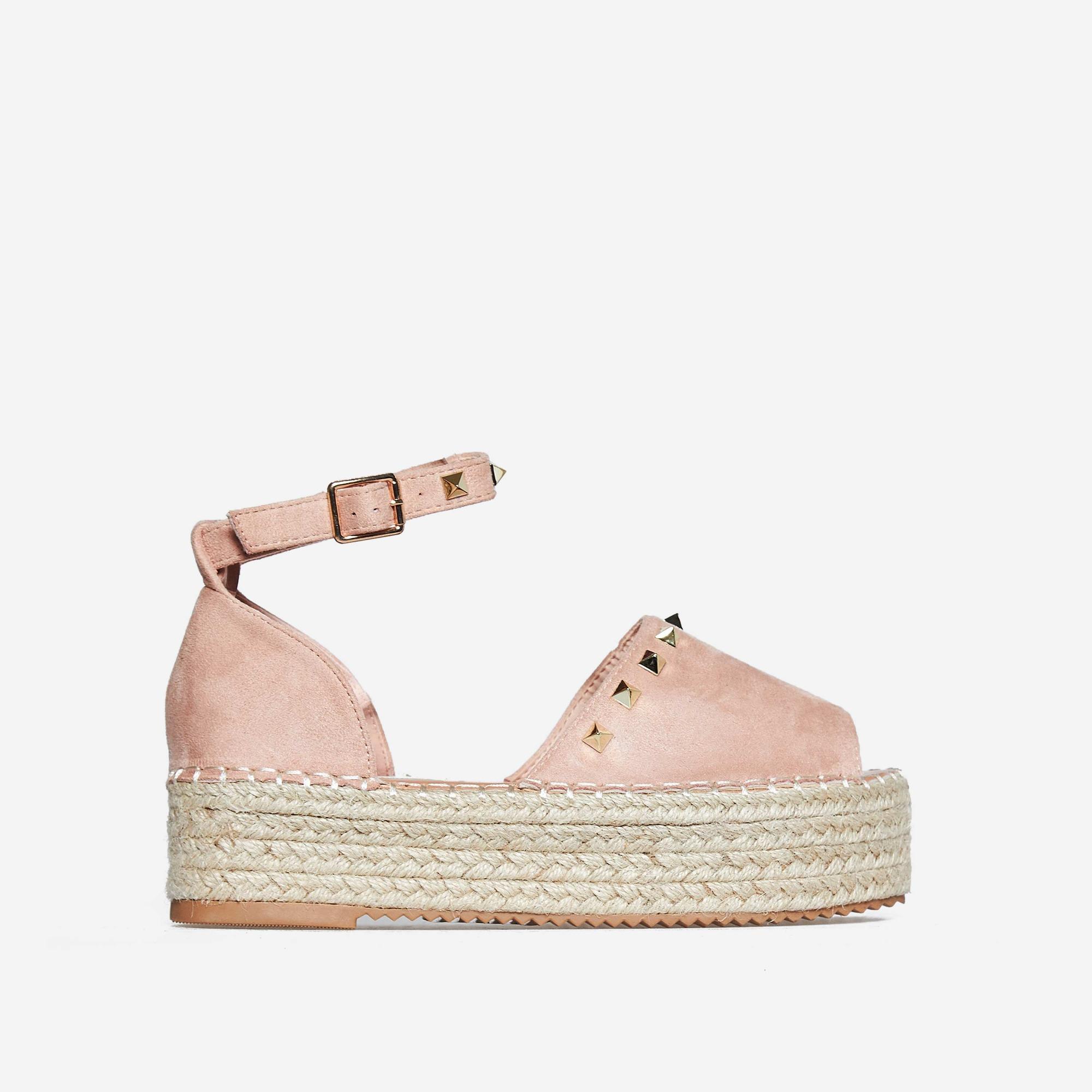 Jelena Studded Detail Flatform Espadrille Sandal In Pink Faux Suede