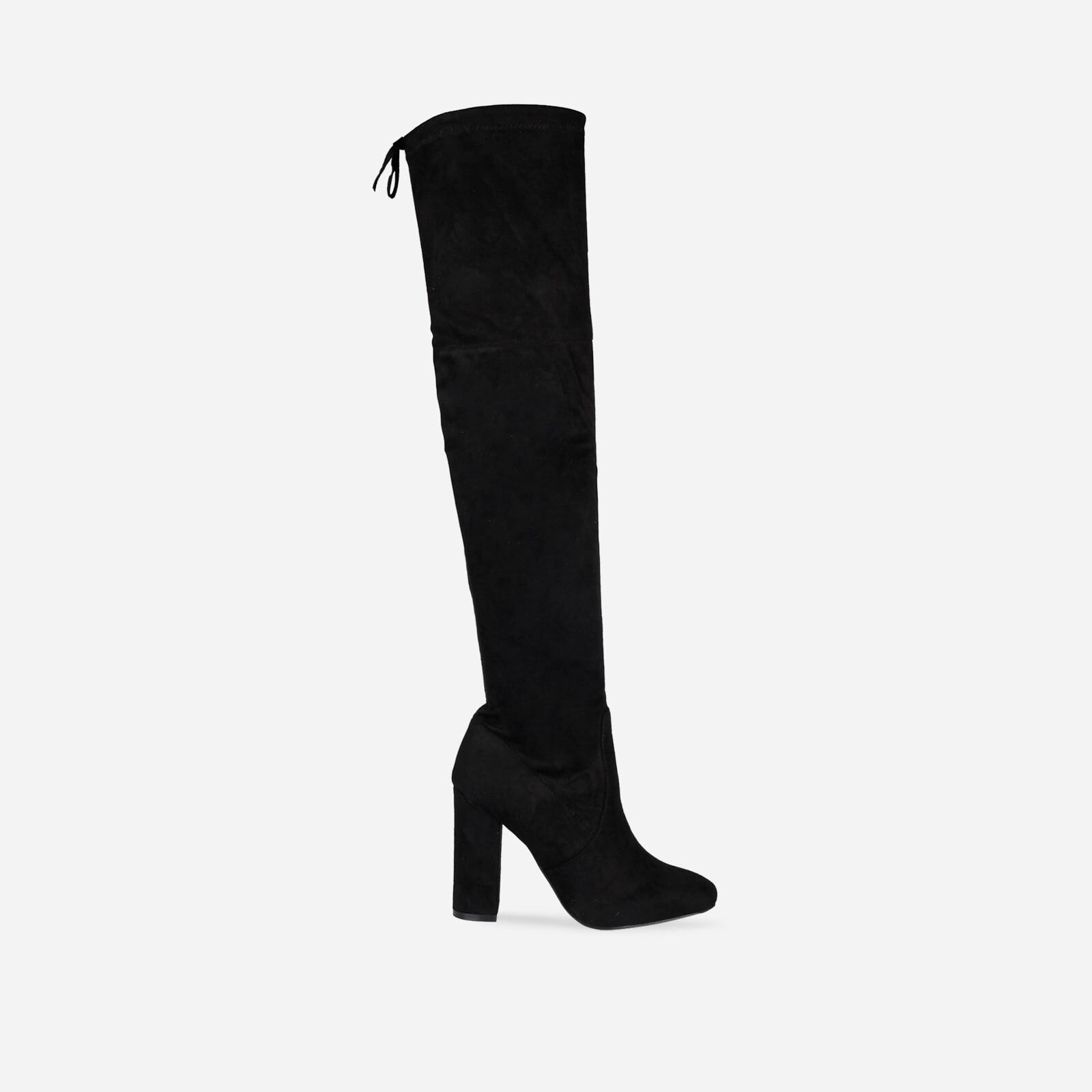 Ivy Over The Knee Black Faux Suede Boots Image 1