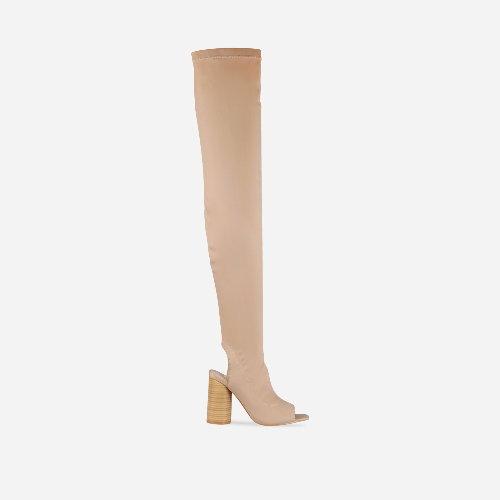 Layla Peep Toe Over the Knee Boot In Nude Lycra Image 1