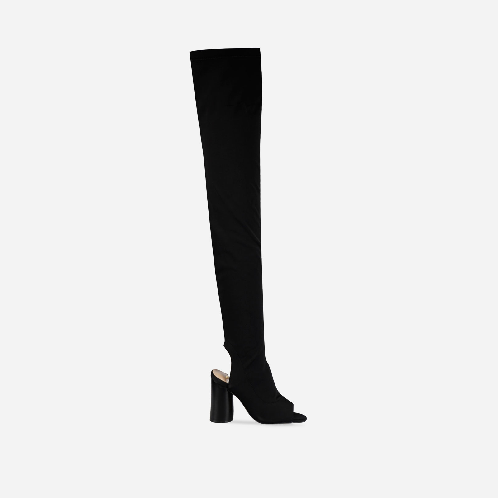 Layla Peep Toe Over the Knee Boot In Khaki Lycra Image 1