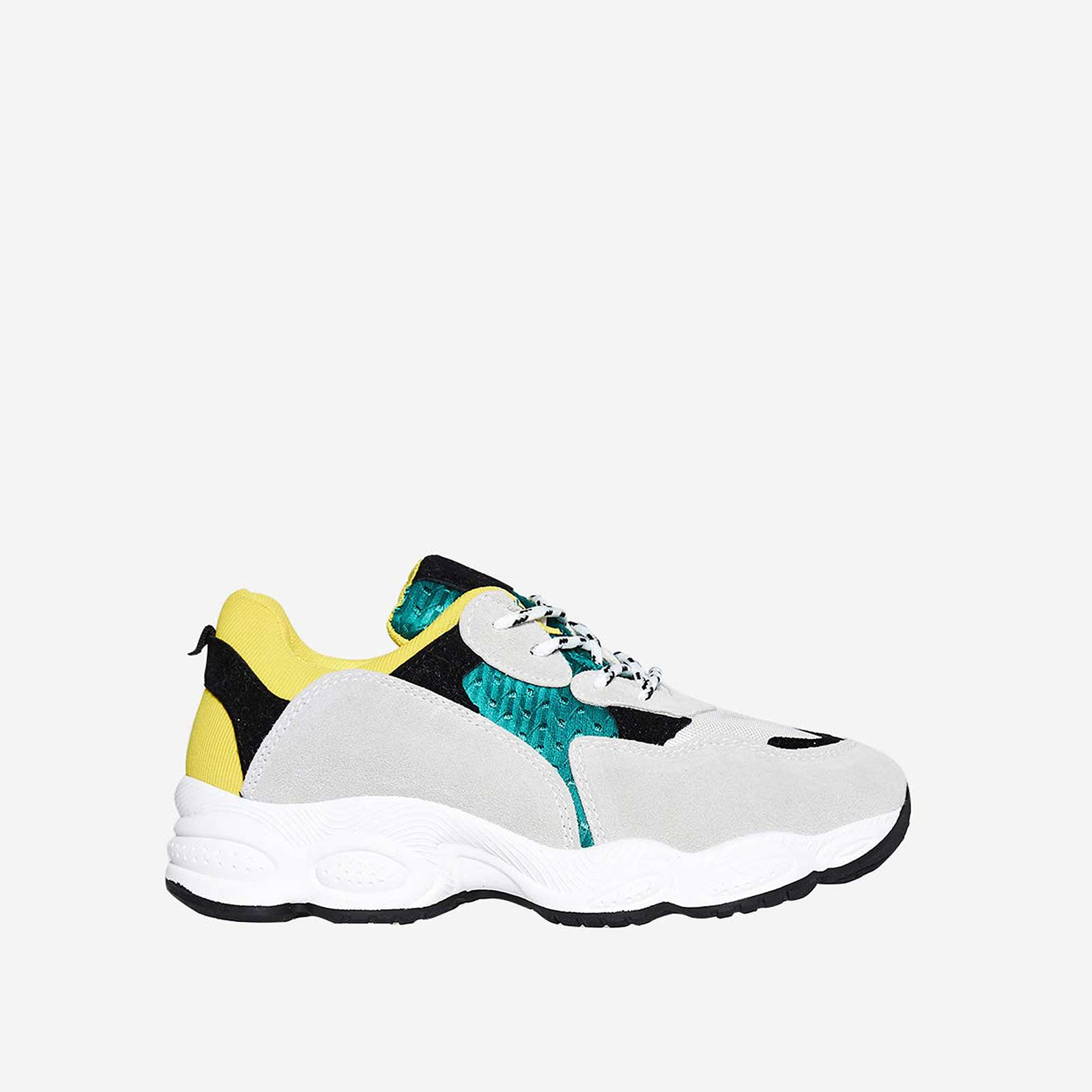 Kim Chunky Trainer In Green And Yellow