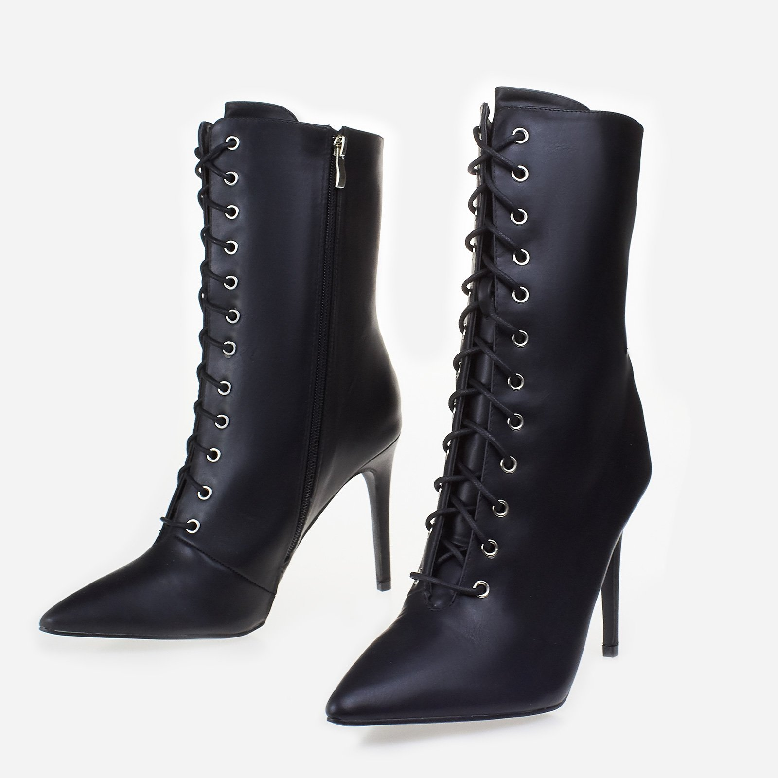 Cate Lace Up Ankle Boot In Black Faux Leather