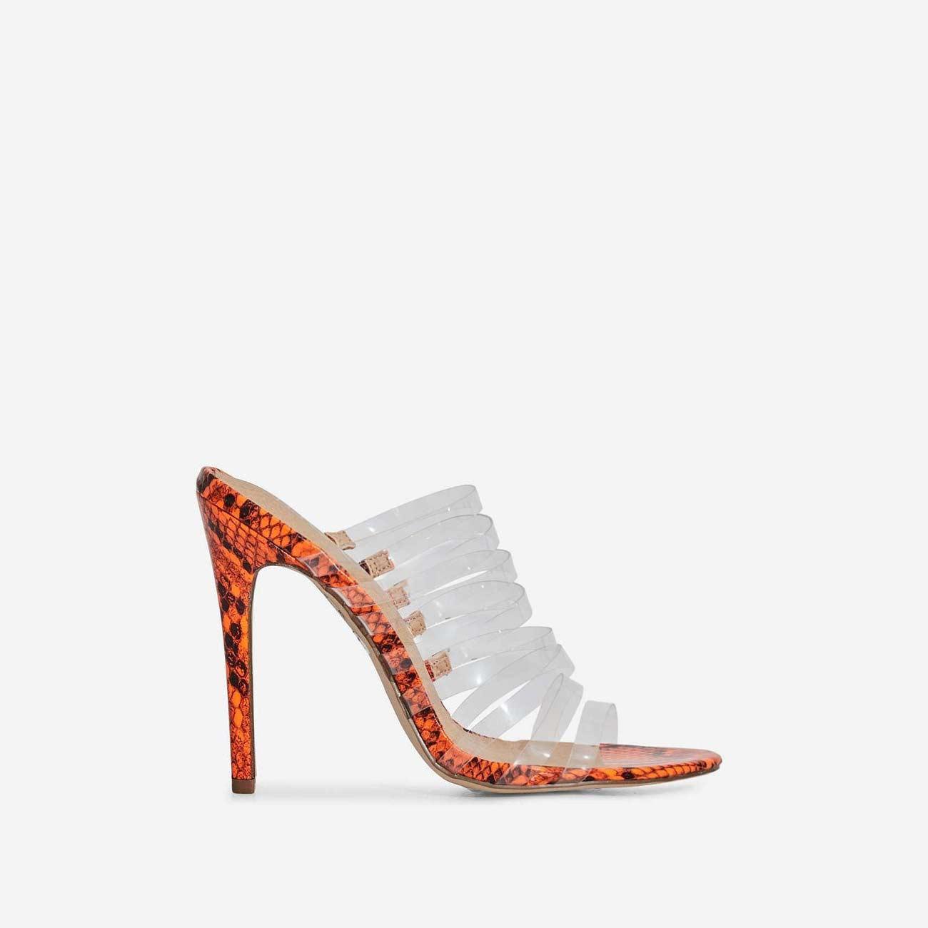 Abby Multi Strap Perspex Heel Mule In Neon Orange Snake Print Faux Leather