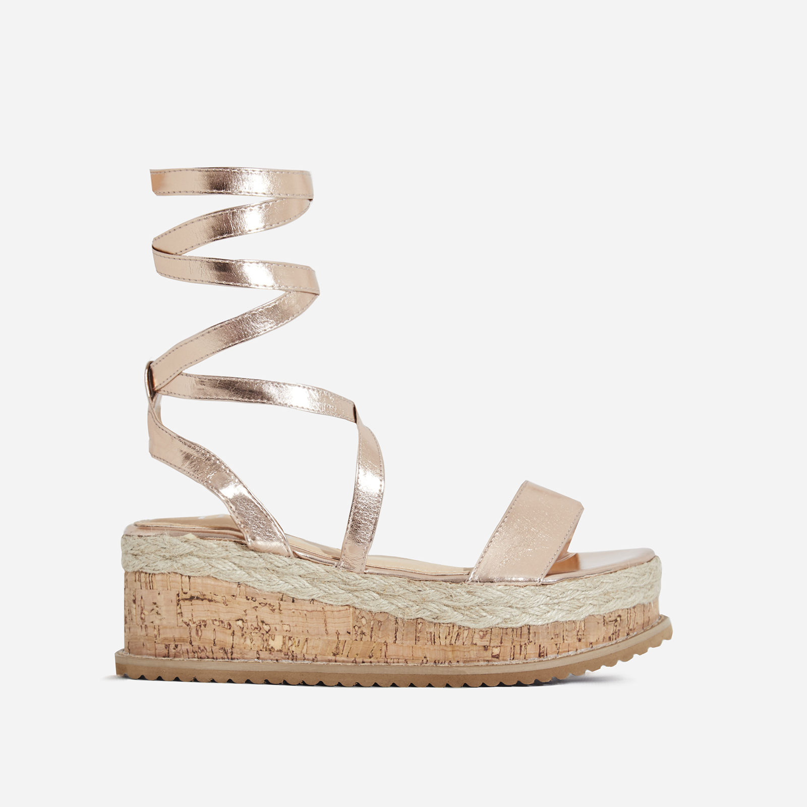 Abigail Strappy Espadrille Flatform In Rose Gold Faux Leather Image 1