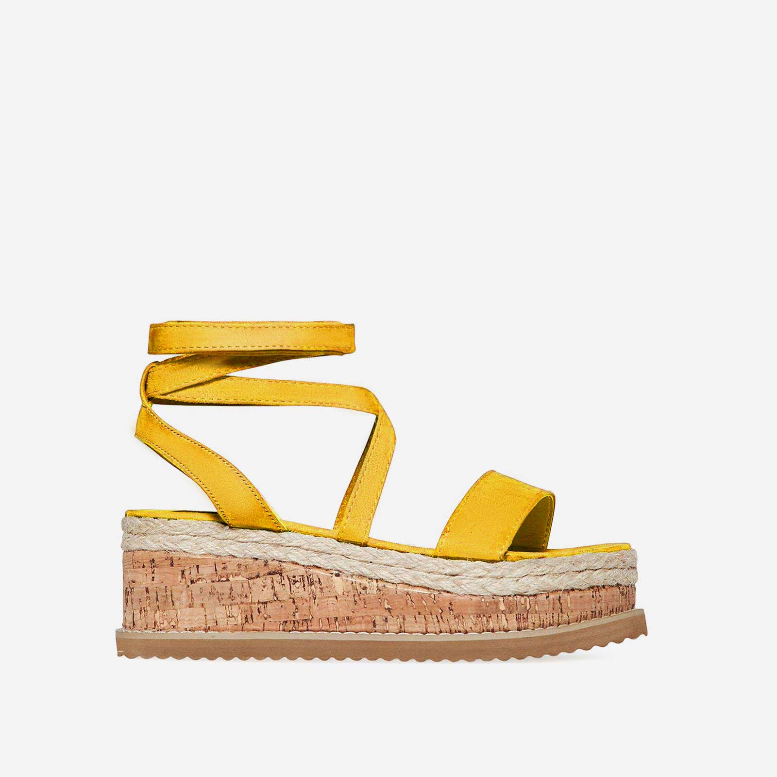 Abigail Strappy Espadrille Flatform In Yellow Faux Suede