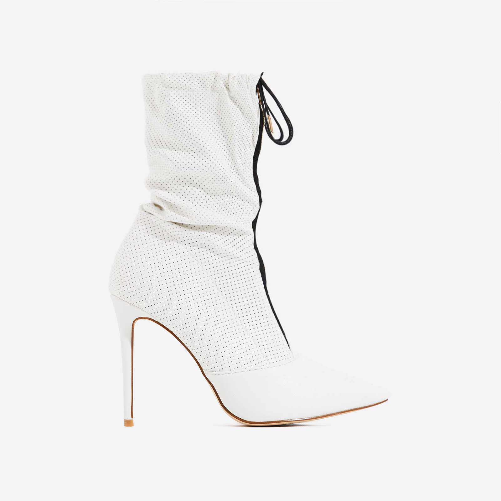 Absolute Slouched Zip Detail Ankle Boot In White Faux Leather