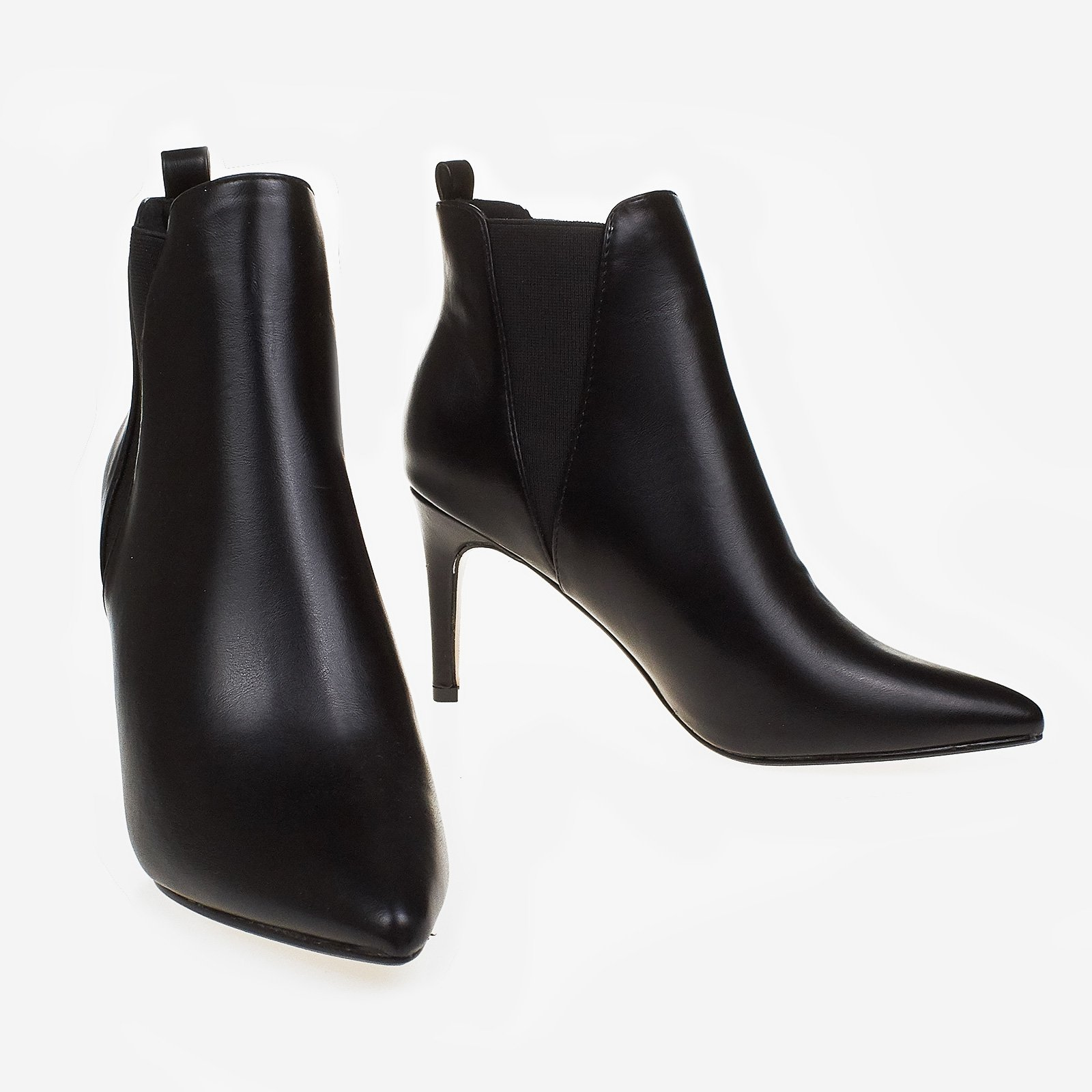 Blair Elasticated Ankle Boot In Black Faux Leather