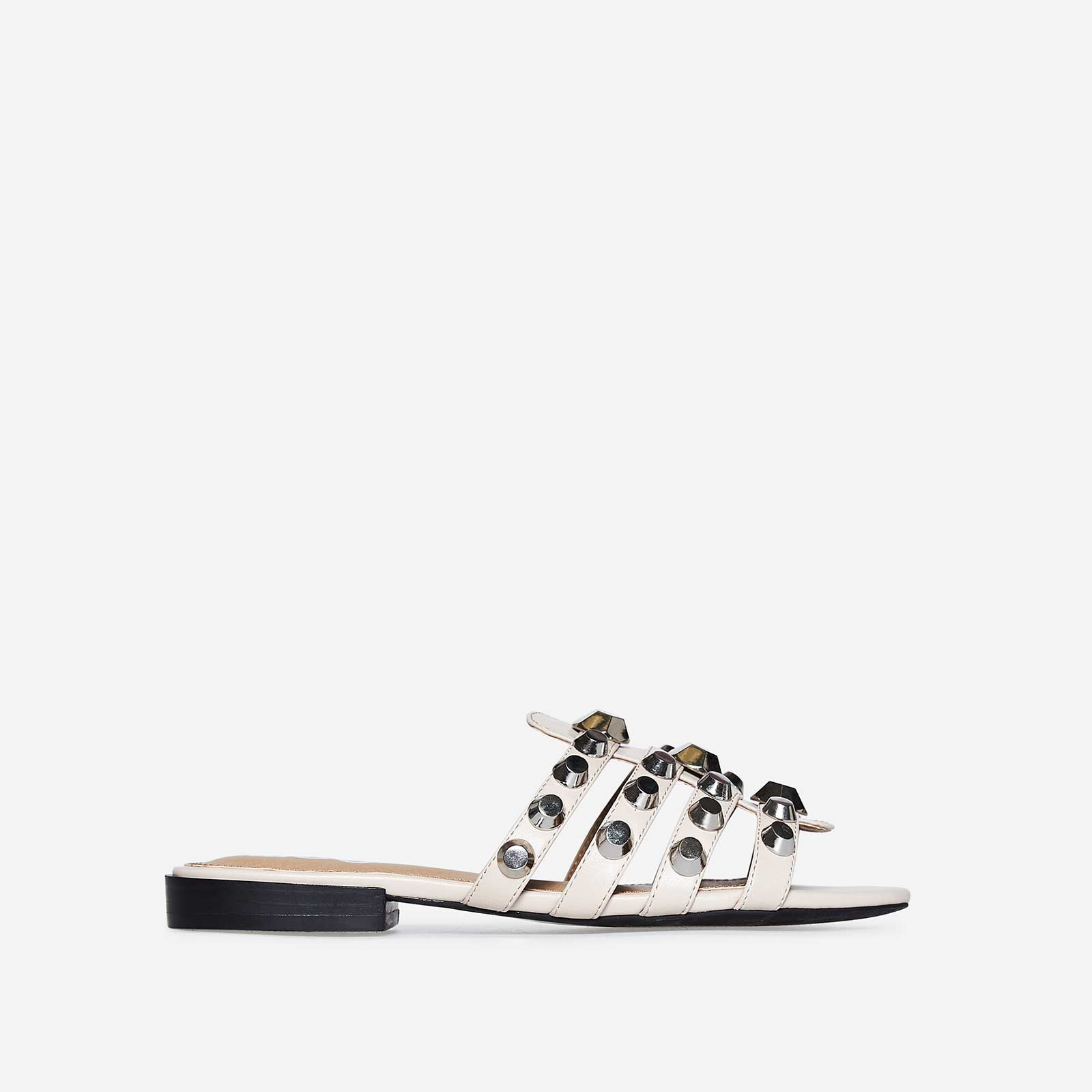 Adeline Silver Studded Detail Slider In Nude Faux Leather