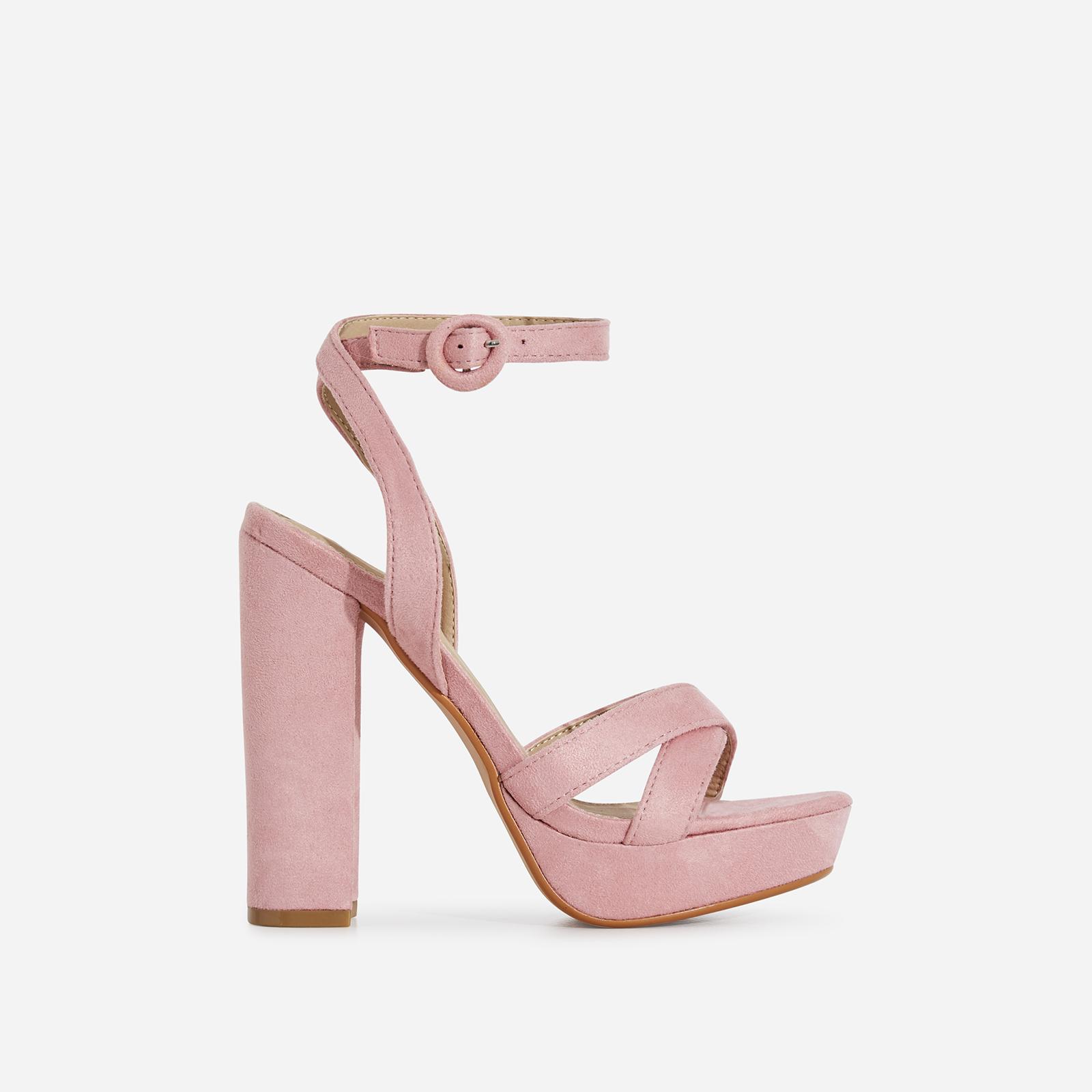 Amie Platform Heel In Blush Pink Faux Suede
