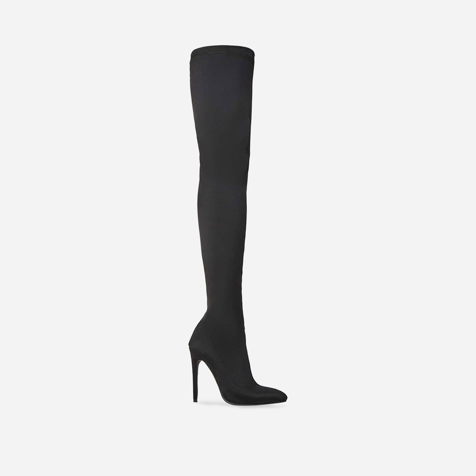 Alabama Pointed Toe Long Boot In Black Lycra Image 1
