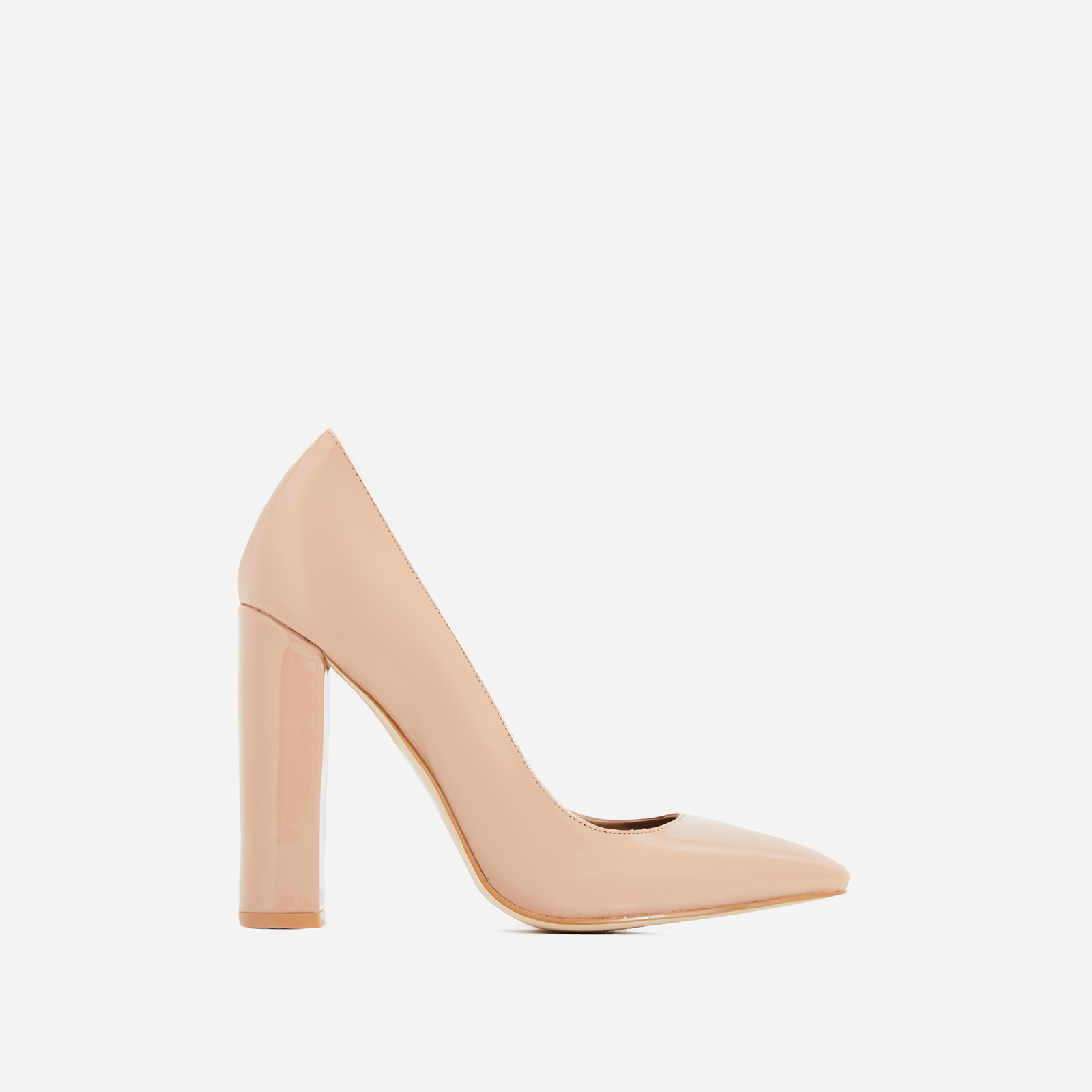 Bobbi Block Court Heel In Nude Patent