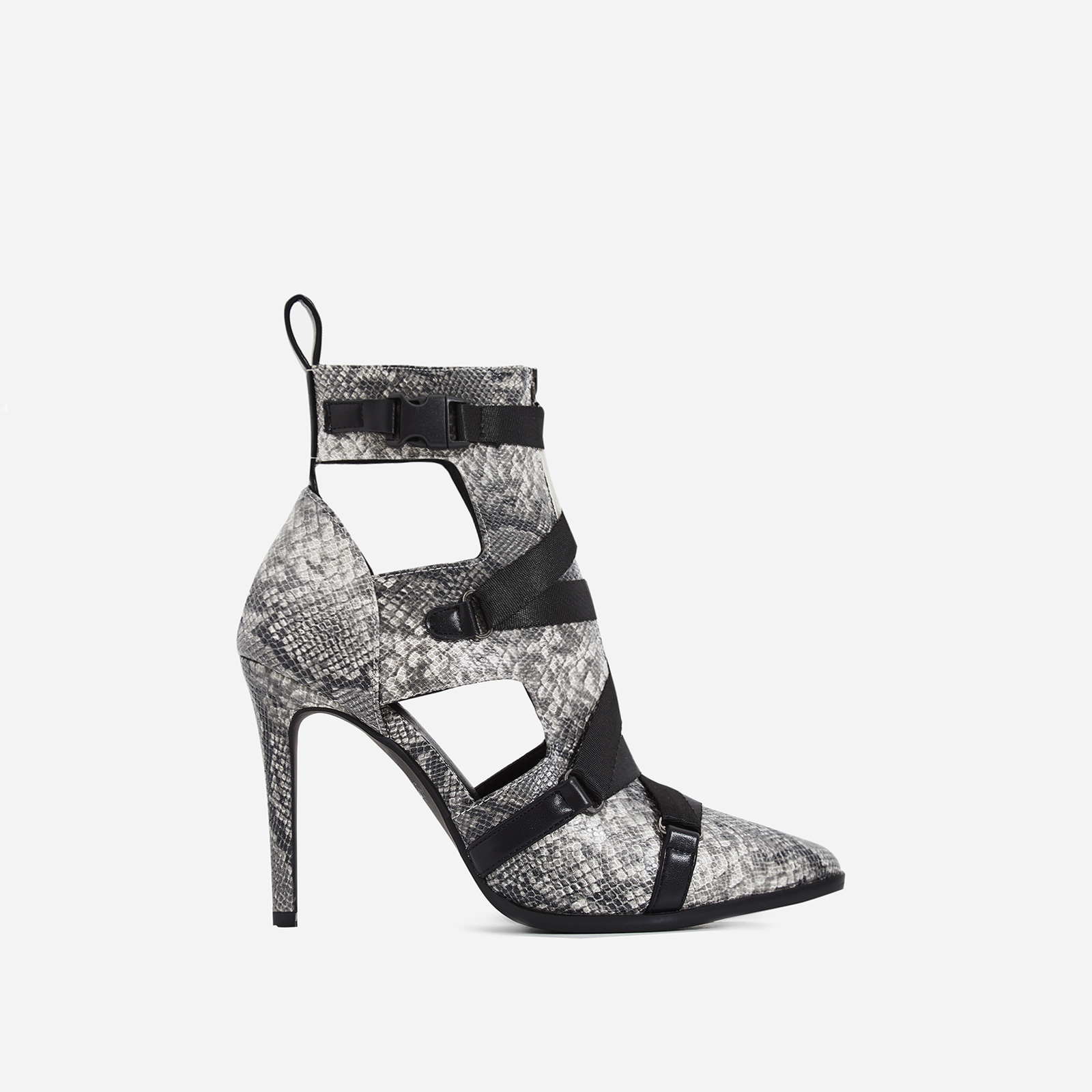 Alessia Strap Detail Ankle Boot In Grey Snake Print Faux Leather