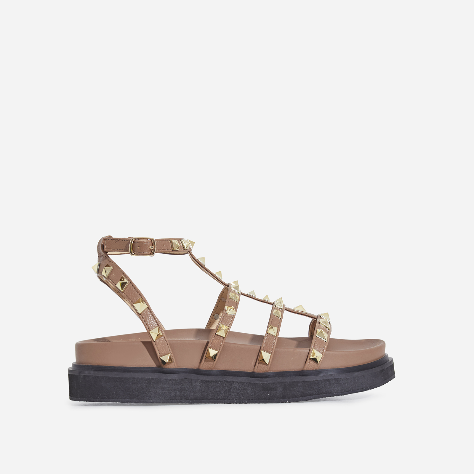Alexandra Studded Detail Chunky Sole Sandal In Mocha Faux Leather