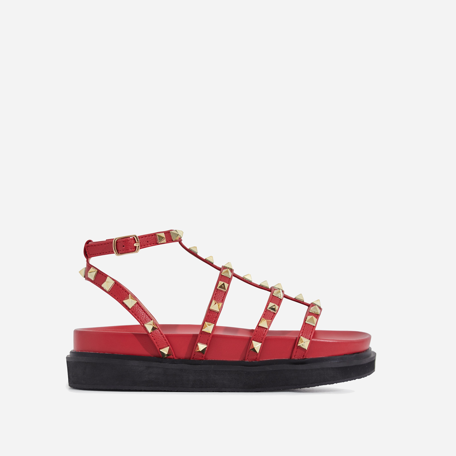Alexandra Studded Detail Chunky Sole Sandal In Red Faux Leather