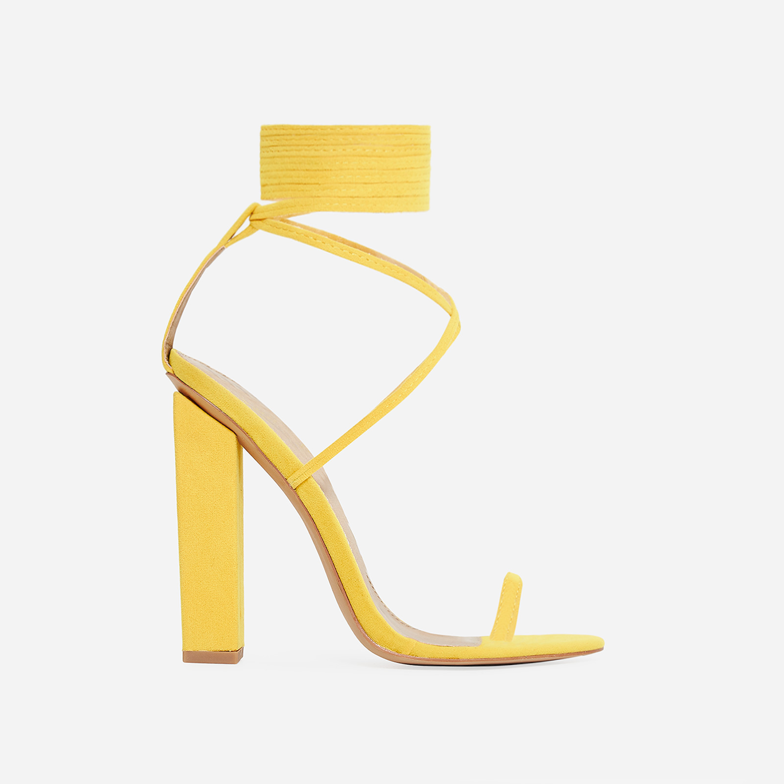 Alexi Lace Up Block Heel In Yellow Faux Suede