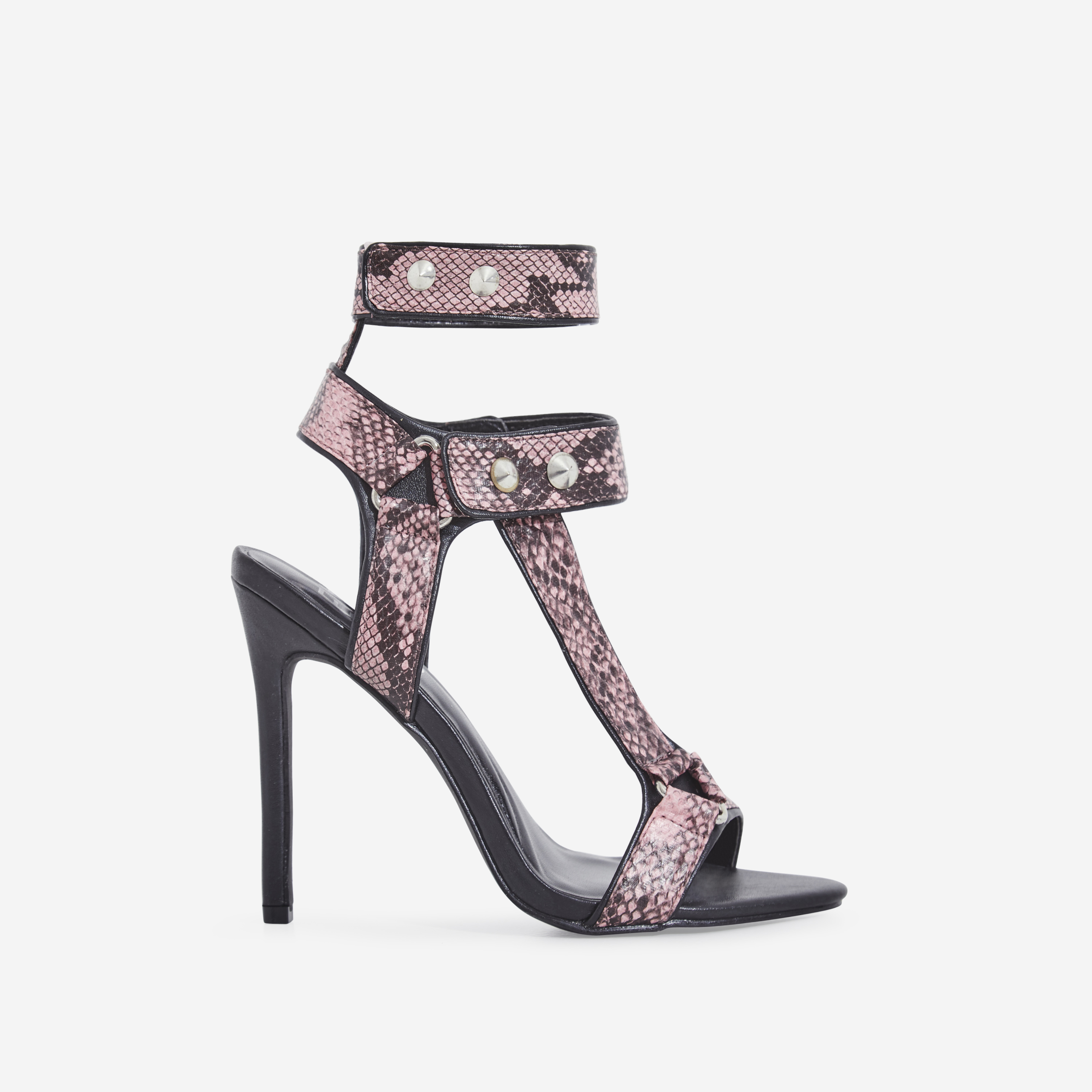 Alexis Cage Heel In Pink Snake Print Faux Leather